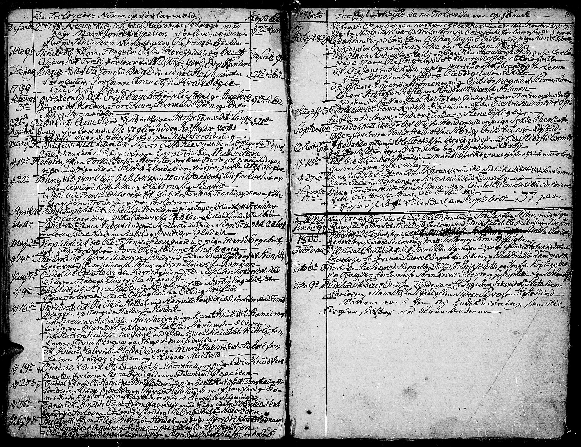SAH, Aurdal prestekontor, Parish register (official) no. 6, 1781-1804, p. 182