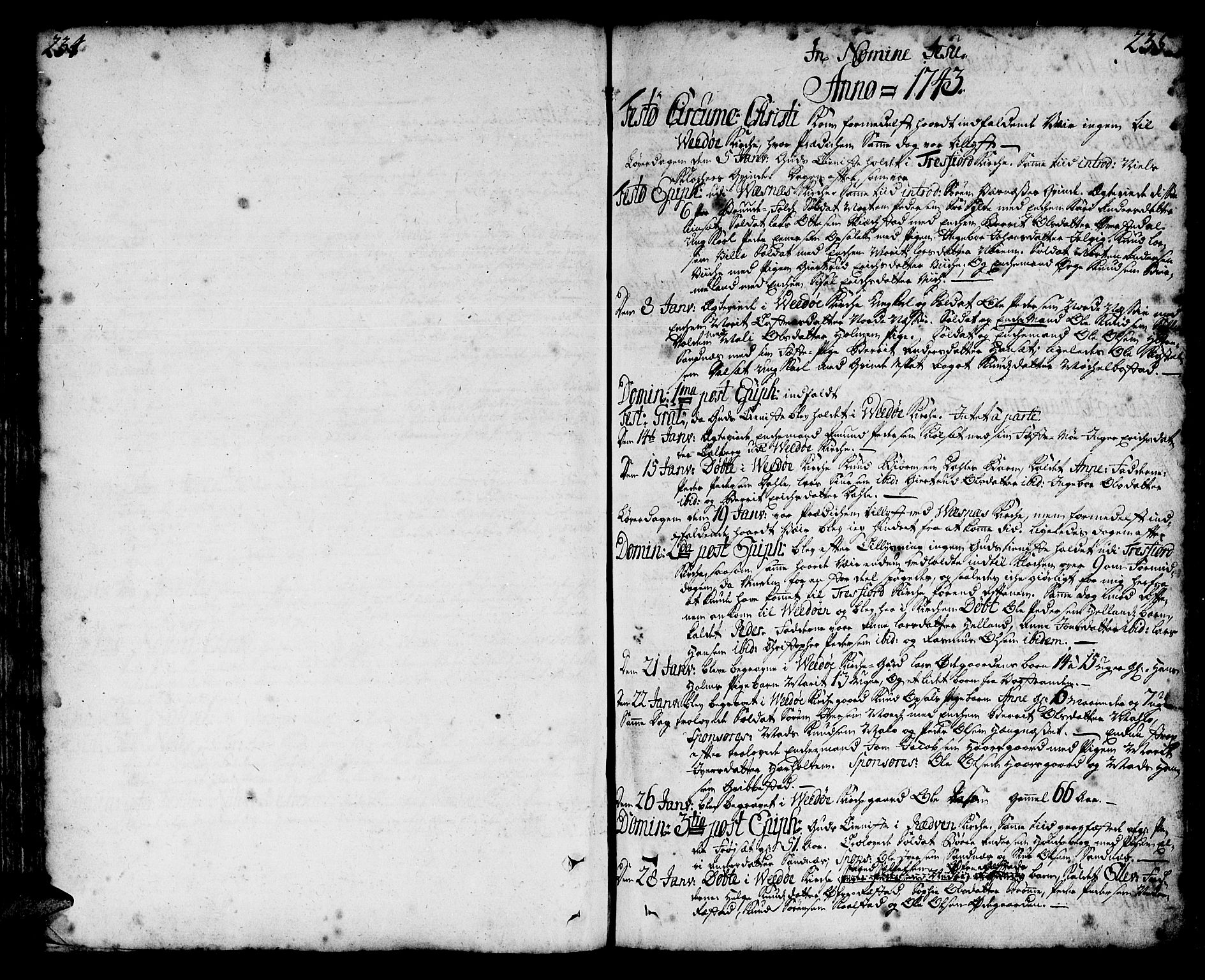 SAT, Ministerialprotokoller, klokkerbøker og fødselsregistre - Møre og Romsdal, 547/L0599: Parish register (official) no. 547A01, 1721-1764, p. 234-235