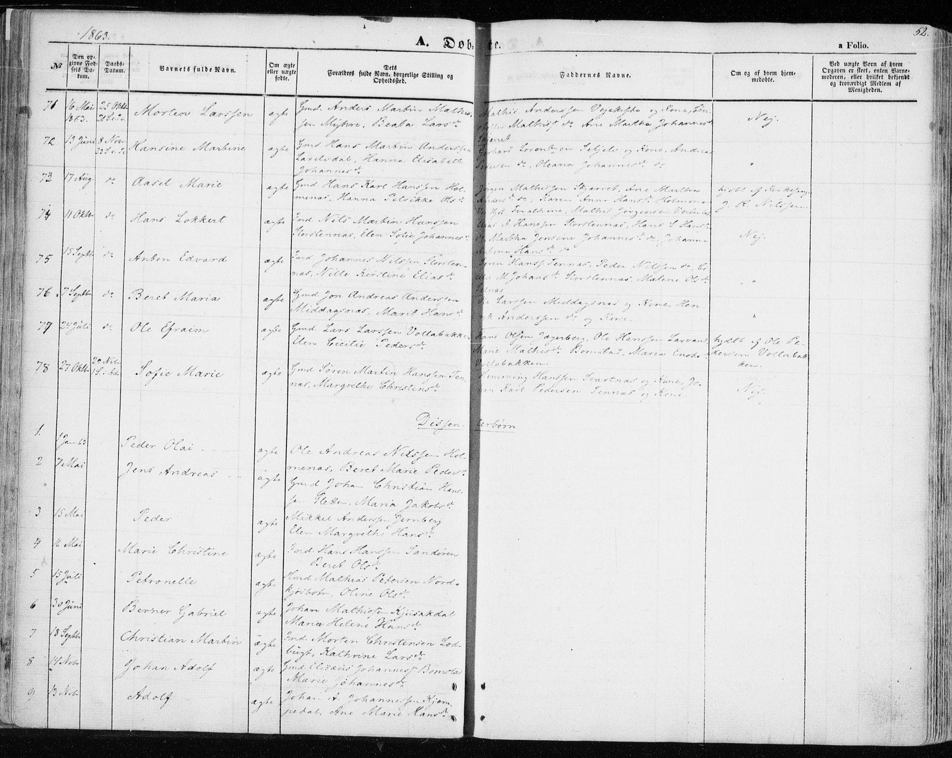 SATØ, Balsfjord sokneprestembete, Parish register (official) no. 3, 1856-1870, p. 52