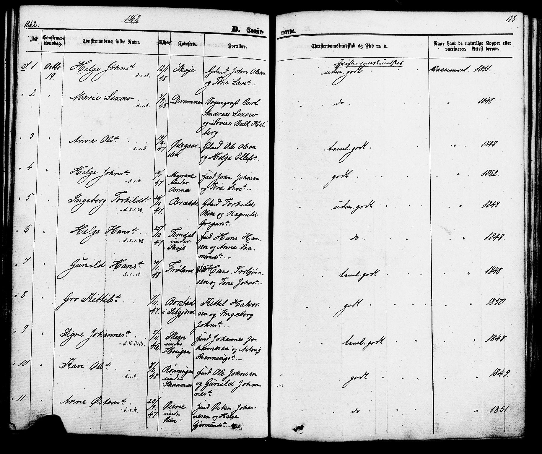 SAKO, Hjartdal kirkebøker, F/Fa/L0009: Parish register (official) no. I 9, 1860-1879, p. 188