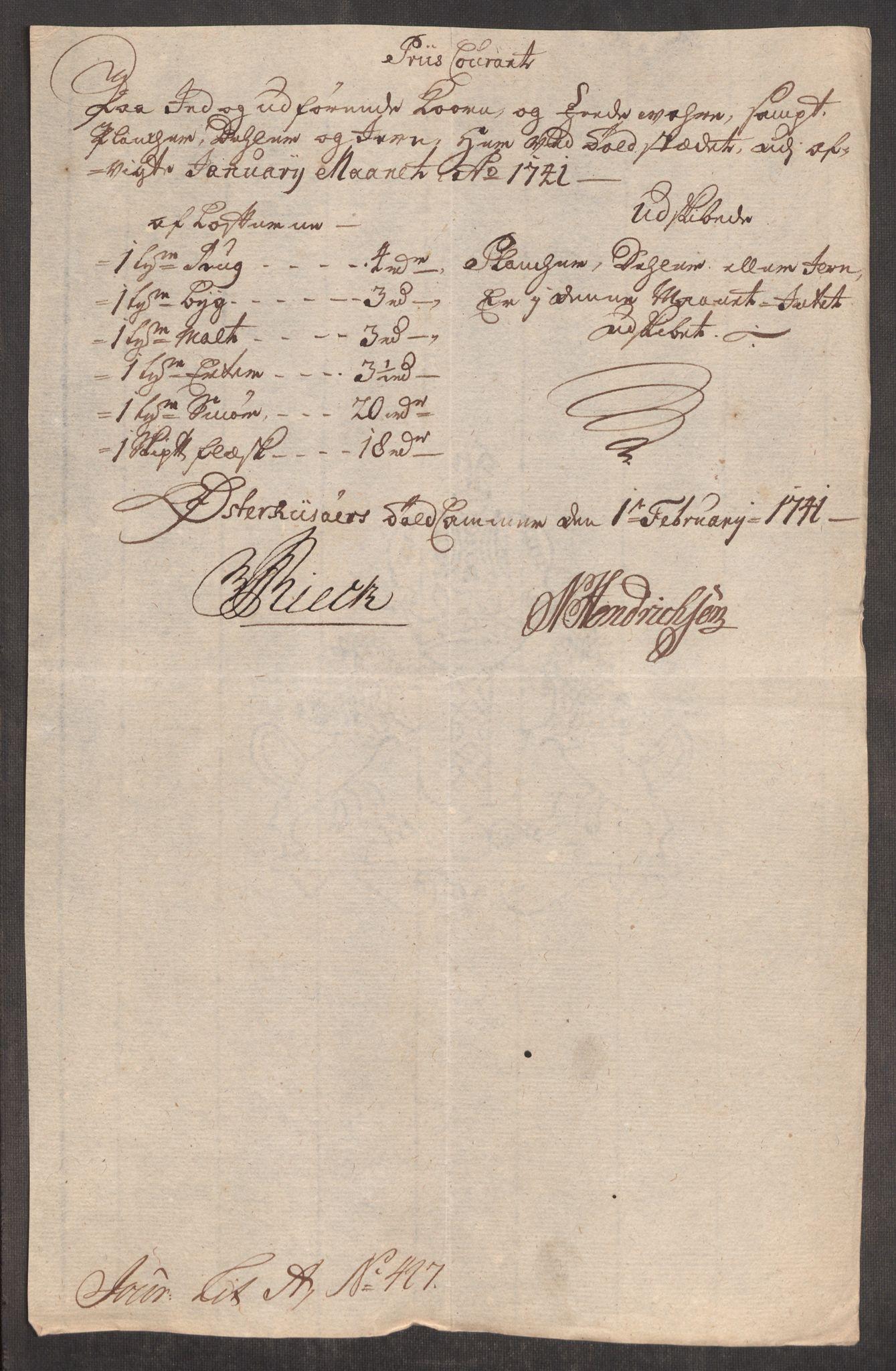 RA, Rentekammeret inntil 1814, Realistisk ordnet avdeling, Oe/L0002: [Ø1]: Priskuranter, 1740-1744, p. 336