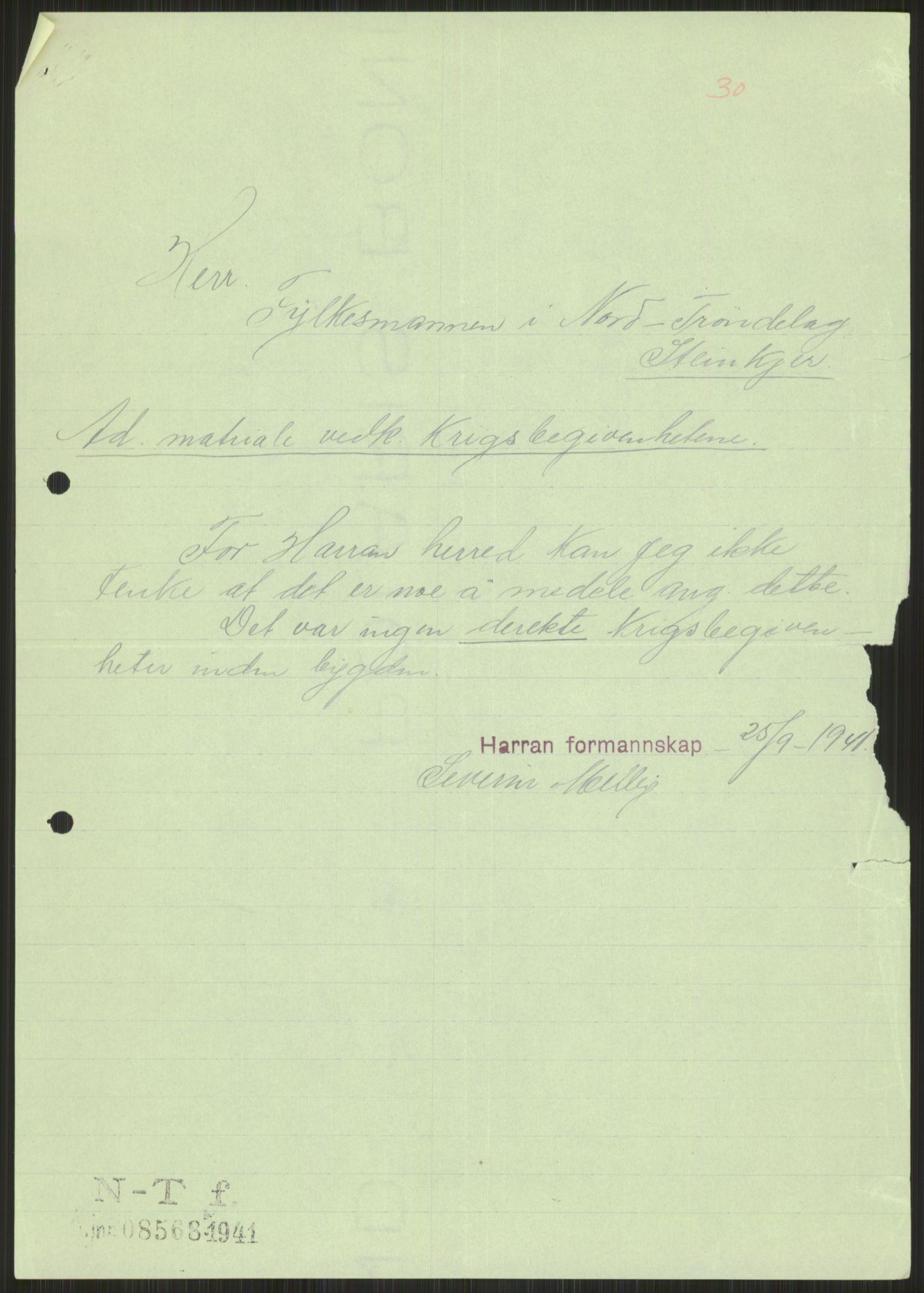 RA, Forsvaret, Forsvarets krigshistoriske avdeling, Y/Ya/L0016: II-C-11-31 - Fylkesmenn.  Rapporter om krigsbegivenhetene 1940., 1940, p. 469