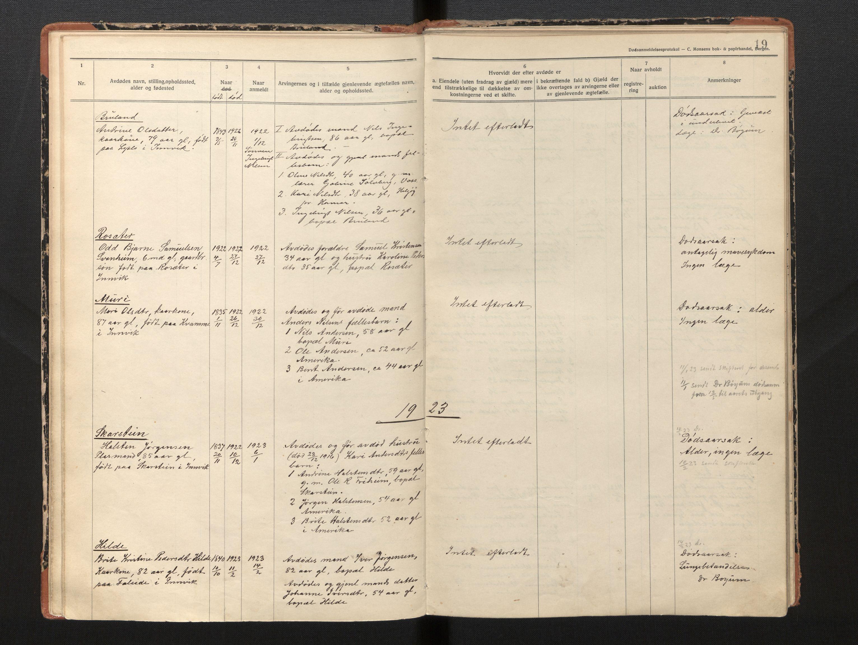 SAB, Lensmannen i Innvik, 0006/L0005: Dødsfallprotokoll, 1921-1932, p. 18b-19a