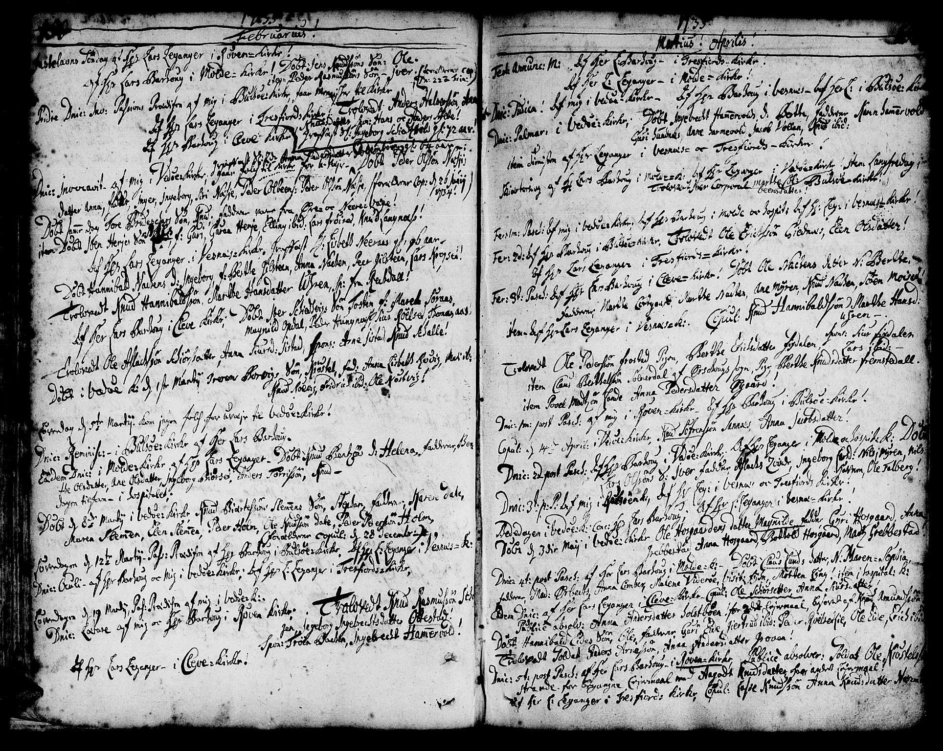 SAT, Ministerialprotokoller, klokkerbøker og fødselsregistre - Møre og Romsdal, 547/L0599: Parish register (official) no. 547A01, 1721-1764, p. 152-153