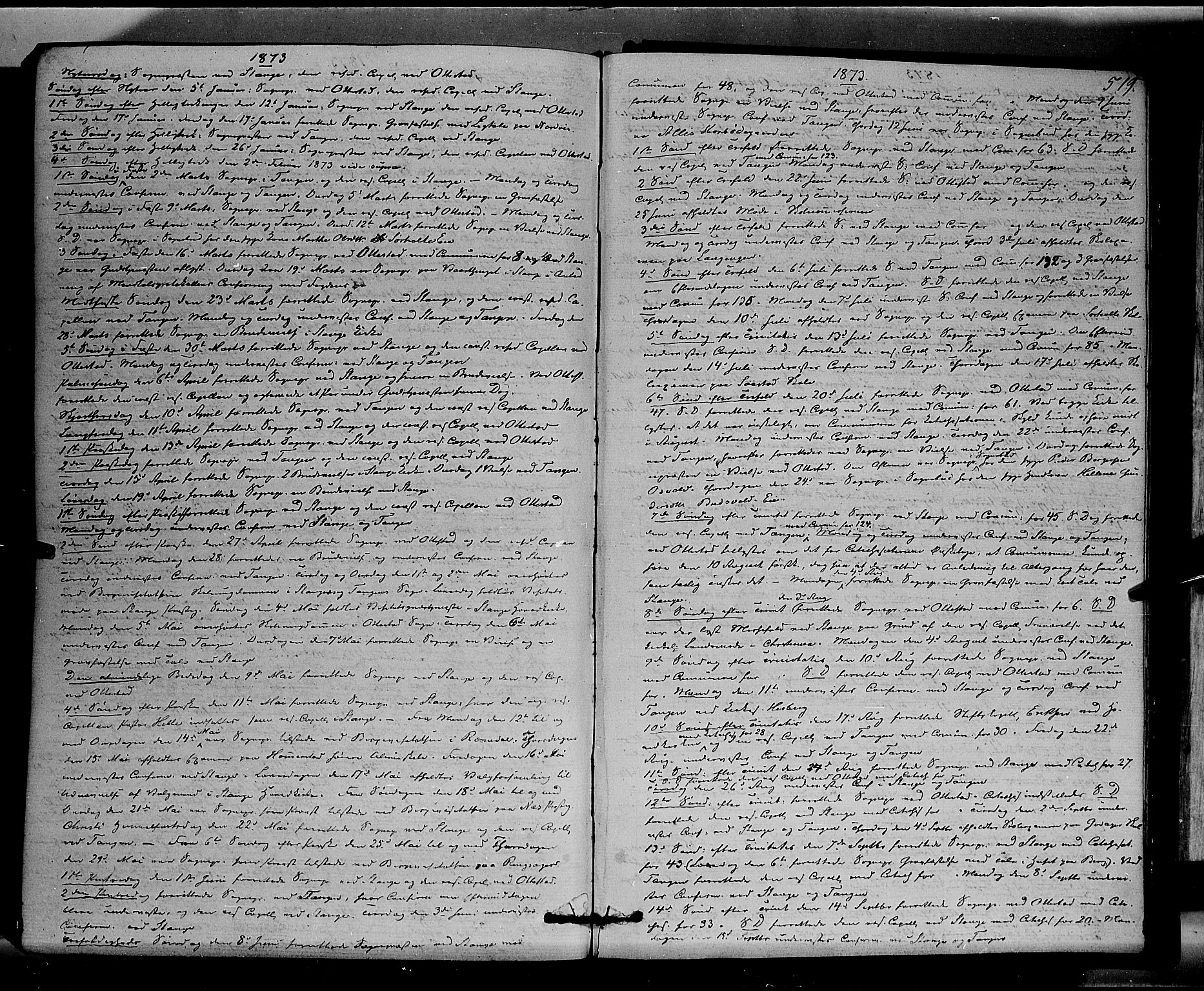 SAH, Stange prestekontor, K/L0013: Parish register (official) no. 13, 1862-1879, p. 519