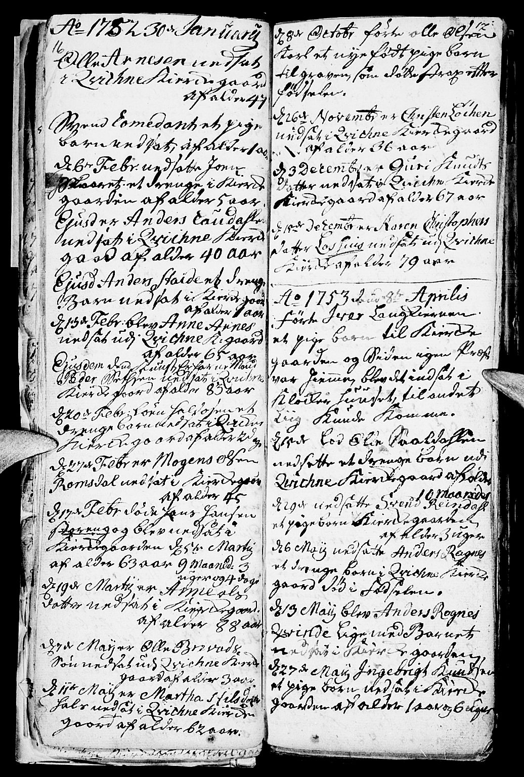 SAH, Kvikne prestekontor, Parish register (official) no. 1, 1740-1756, p. 16-17