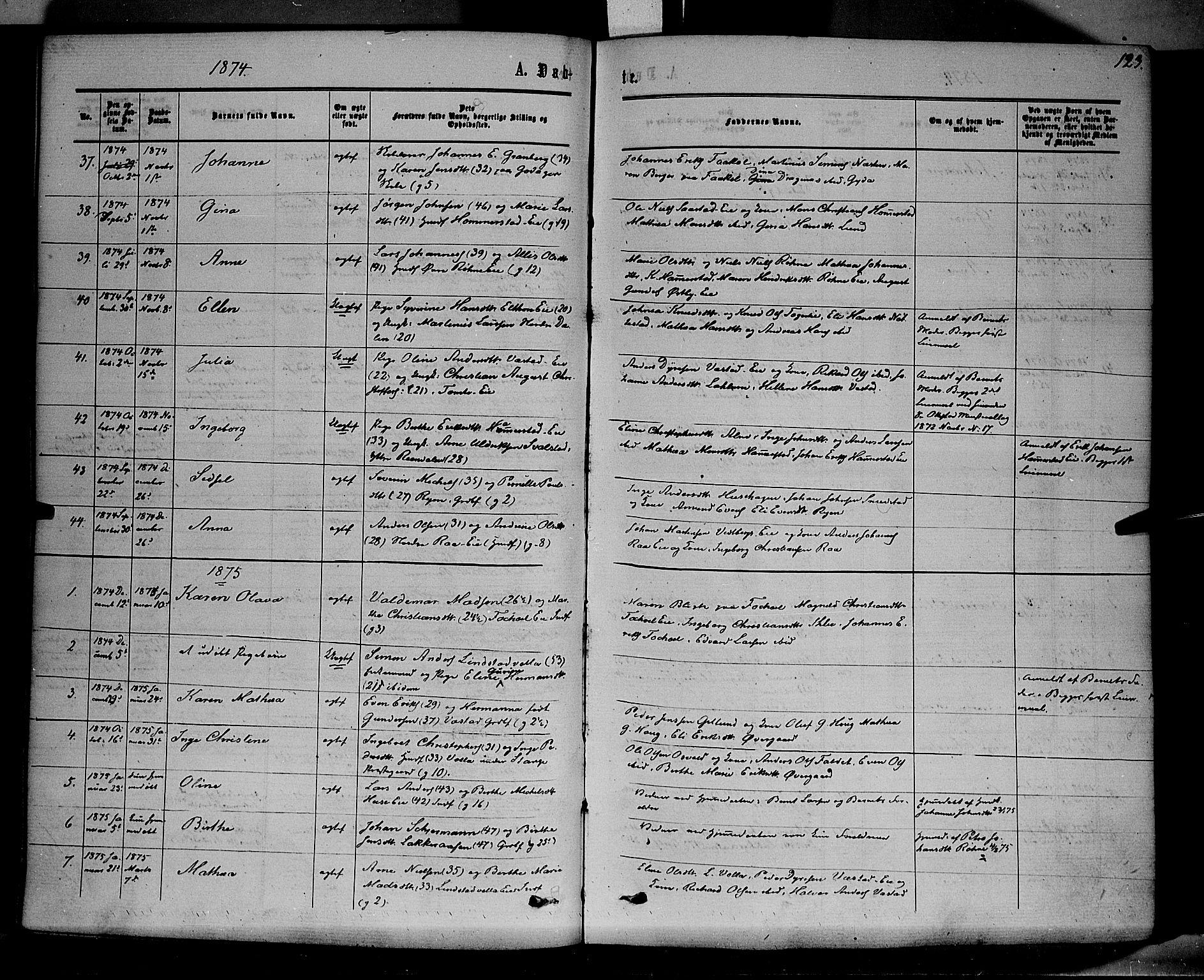 SAH, Stange prestekontor, K/L0013: Parish register (official) no. 13, 1862-1879, p. 123