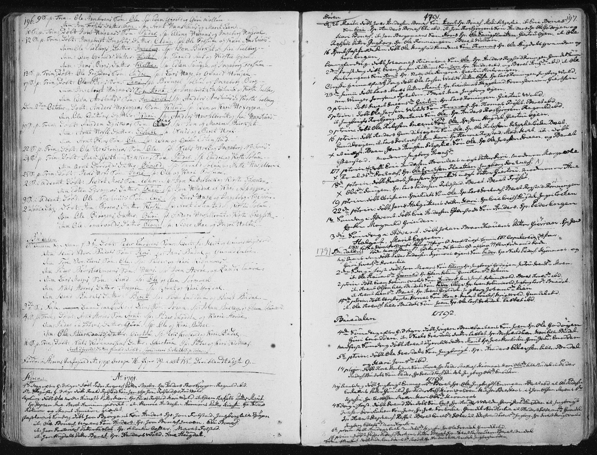 SAT, Ministerialprotokoller, klokkerbøker og fødselsregistre - Sør-Trøndelag, 687/L0992: Parish register (official) no. 687A03 /1, 1788-1815, p. 196-197