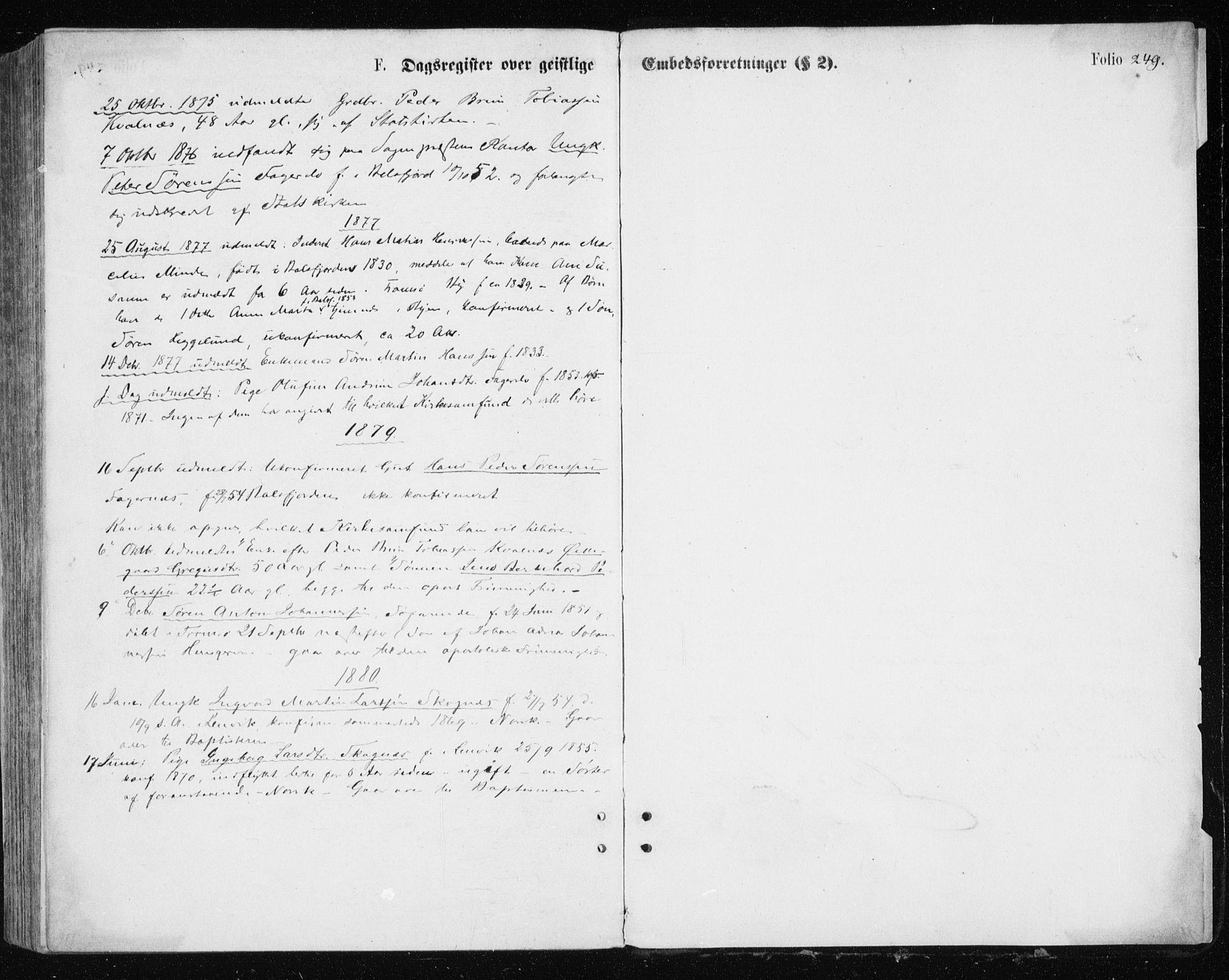 SATØ, Tromsøysund sokneprestkontor, G/Ga/L0003kirke: Parish register (official) no. 3, 1875-1880, p. 249