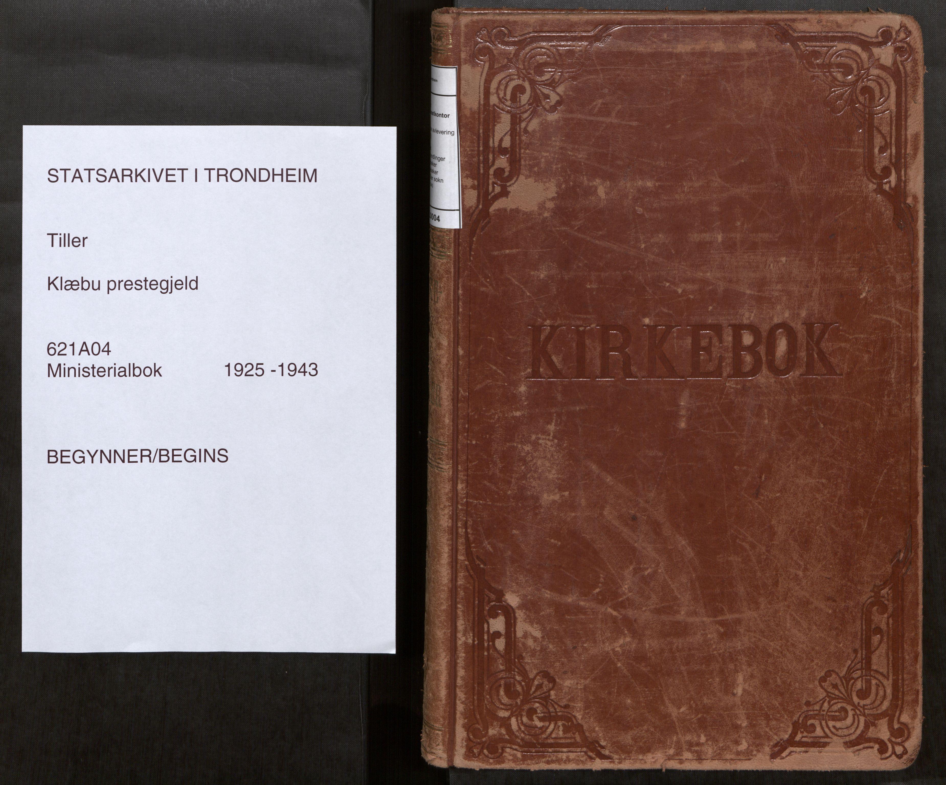 SAT, Klæbu sokneprestkontor, Parish register (official) no. 4, 1925-1943