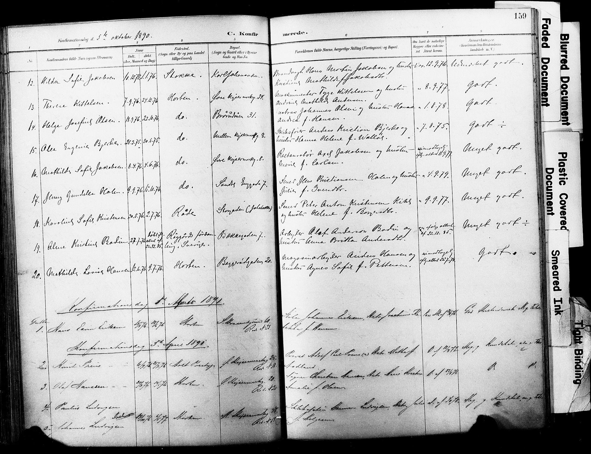 SAKO, Horten kirkebøker, F/Fa/L0004: Parish register (official) no. 4, 1888-1895, p. 159