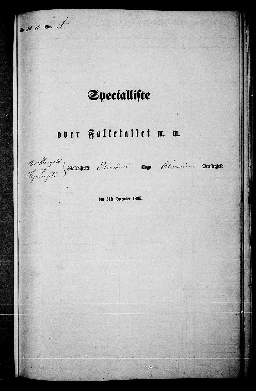 RA, 1865 census for Elverum, 1865, p. 215