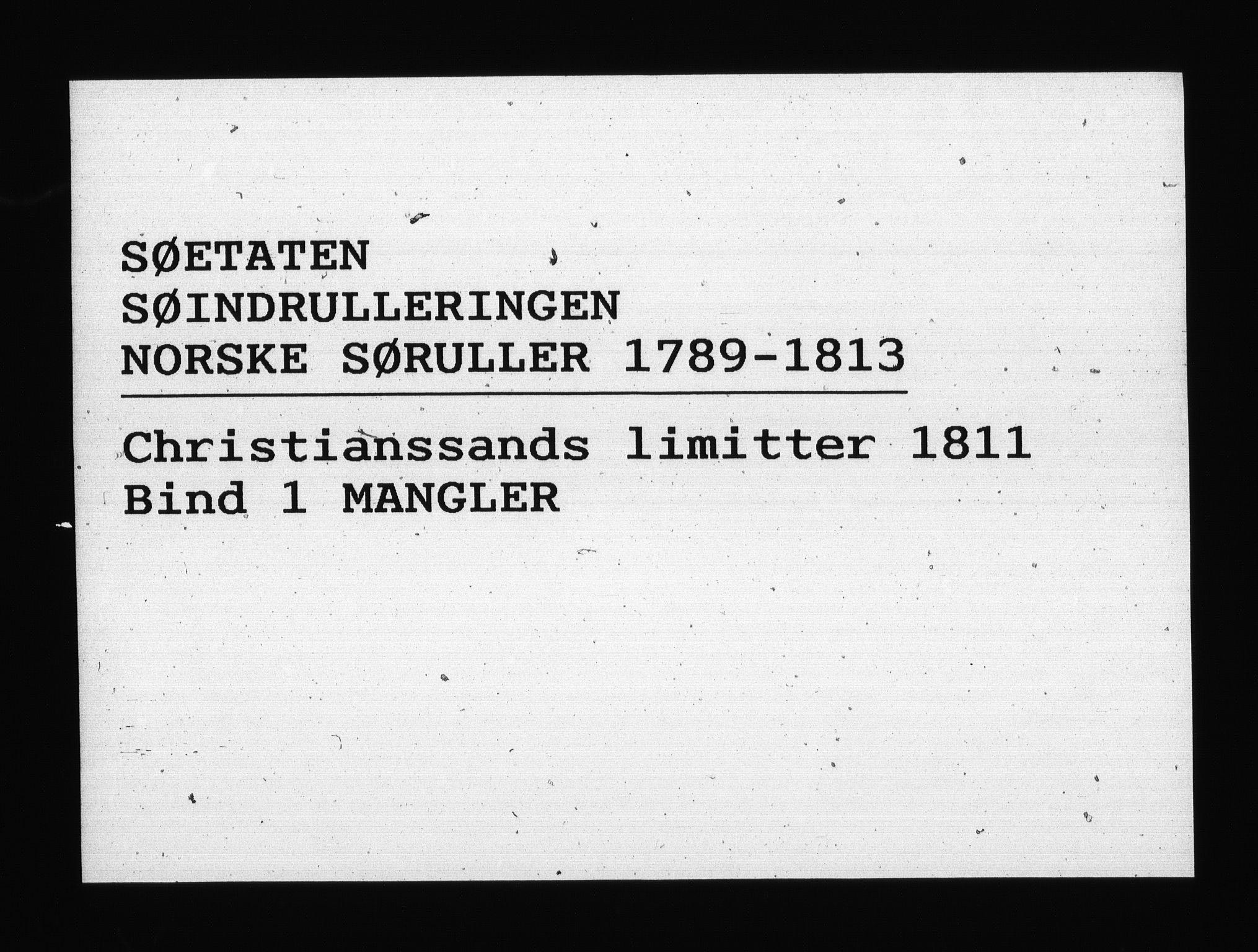 RA, Sjøetaten, F/L0106: Kristiansand limitter, bind 2, 1811