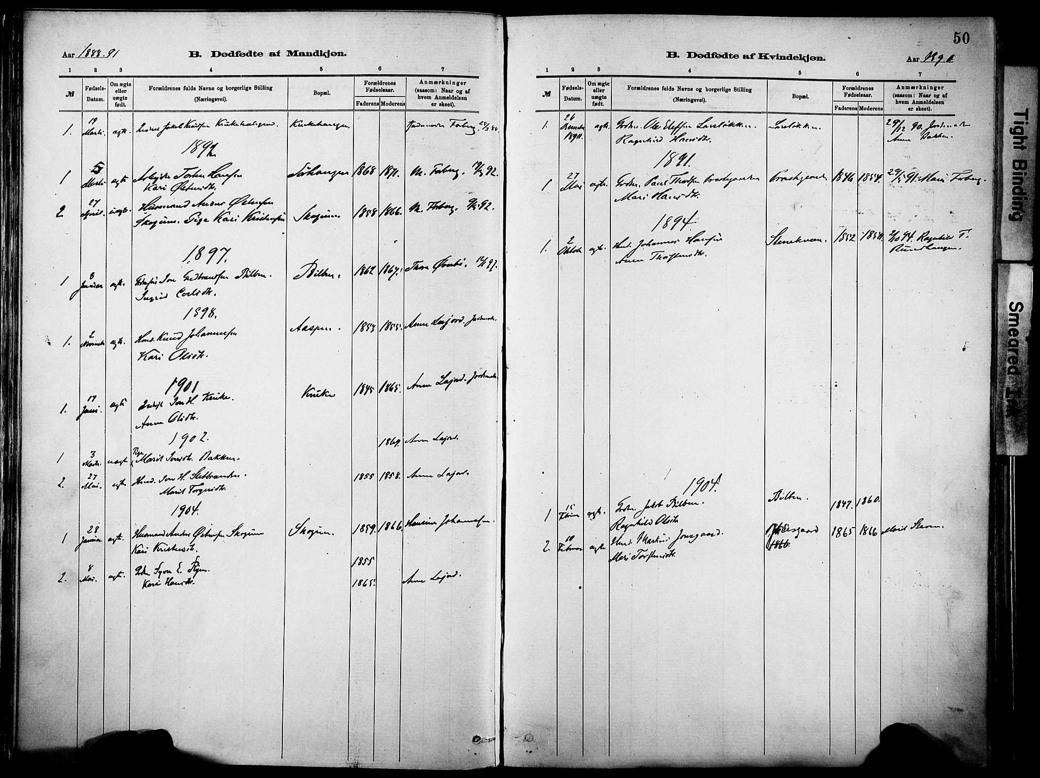SAH, Vågå prestekontor, Parish register (official) no. 10, 1887-1904, p. 50