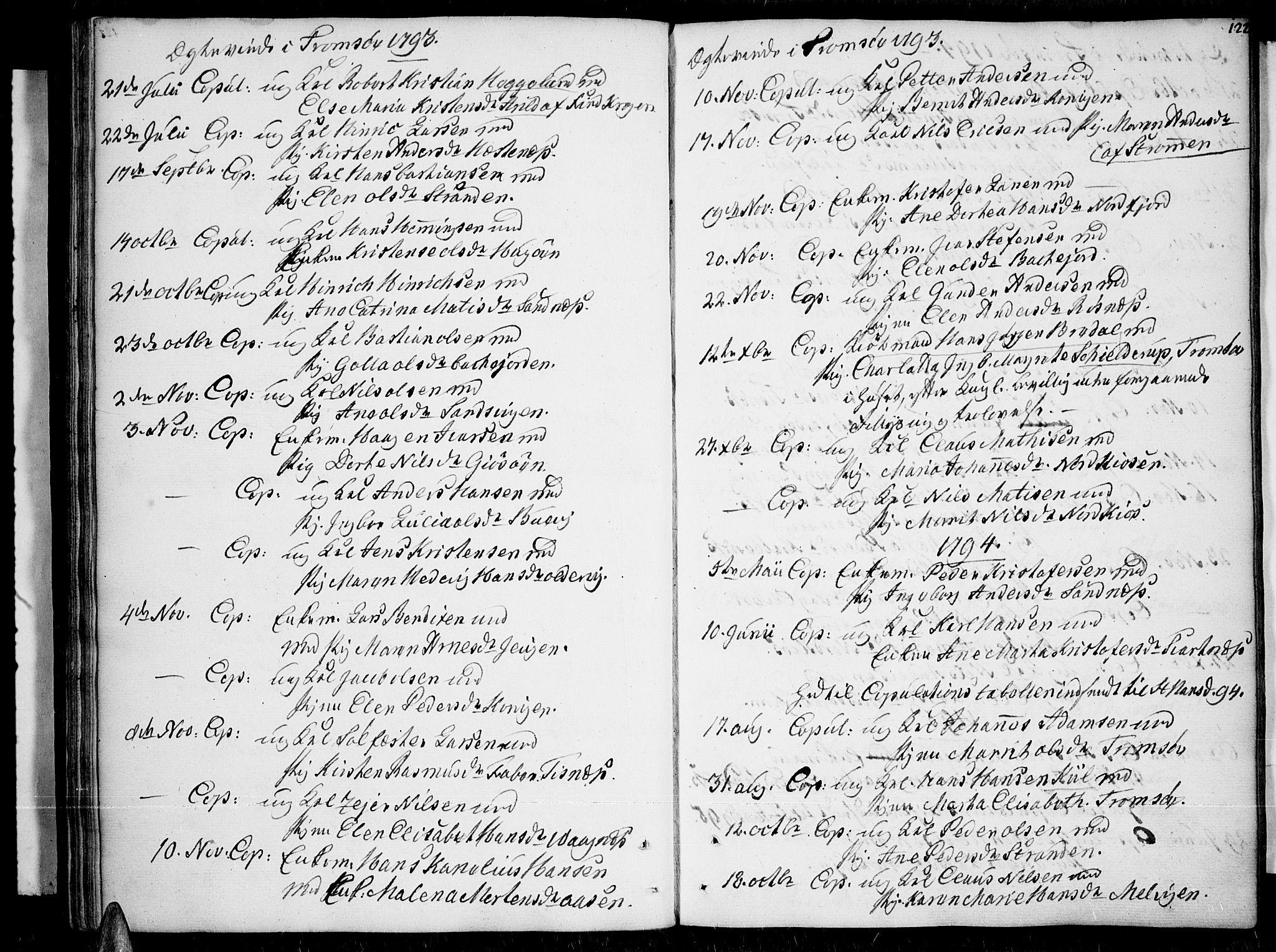 SATØ, Tromsø sokneprestkontor/stiftsprosti/domprosti, G/Ga/L0003kirke: Parish register (official) no. 3, 1779-1796, p. 122