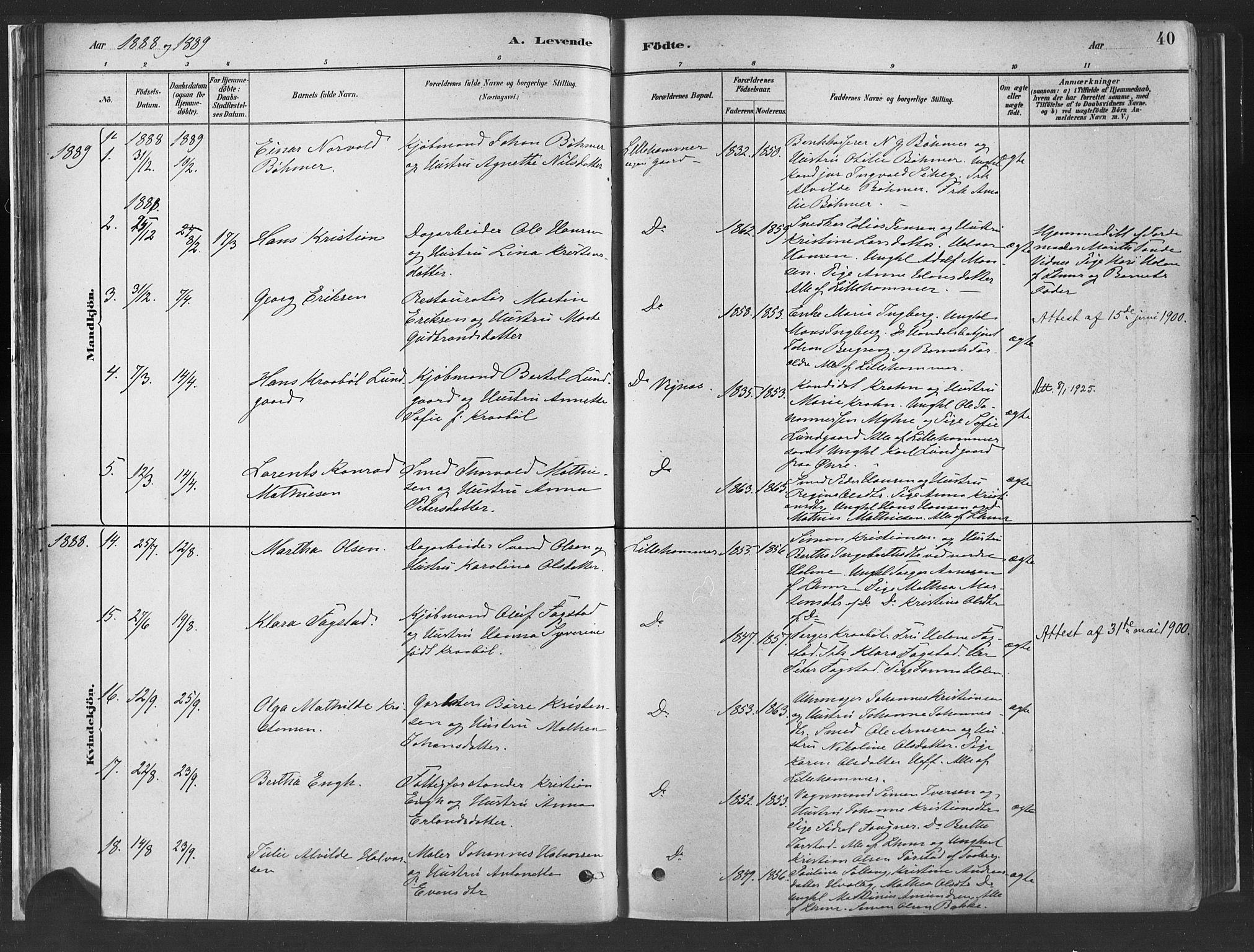 SAH, Fåberg prestekontor, H/Ha/Haa/L0010: Parish register (official) no. 10, 1879-1900, p. 40