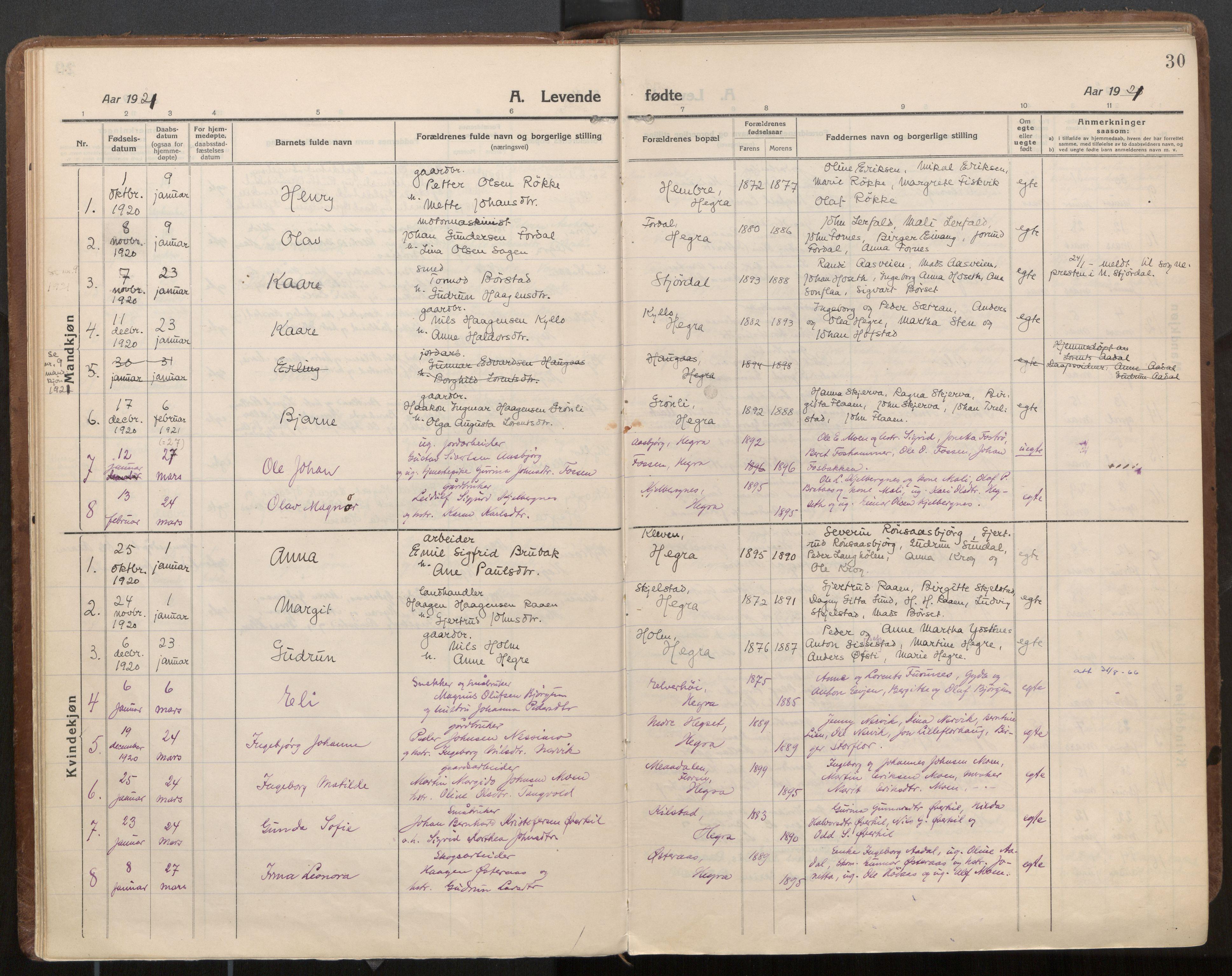 SAT, Ministerialprotokoller, klokkerbøker og fødselsregistre - Nord-Trøndelag, 703/L0037: Parish register (official) no. 703A10, 1915-1932, p. 30