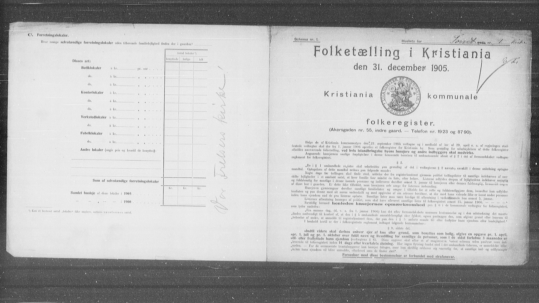 OBA, Municipal Census 1905 for Kristiania, 1905, p. 59780