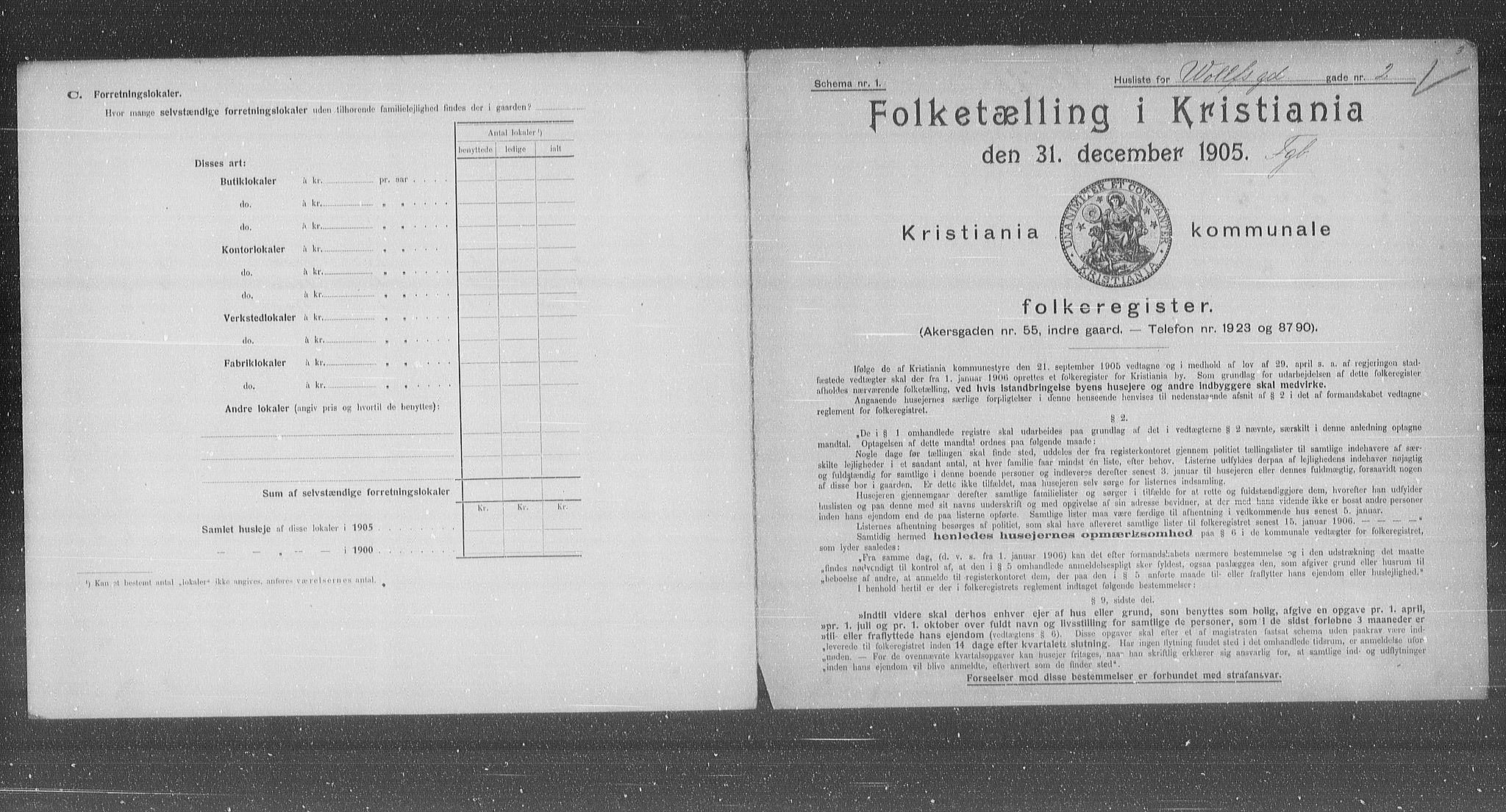 OBA, Municipal Census 1905 for Kristiania, 1905, p. 67543