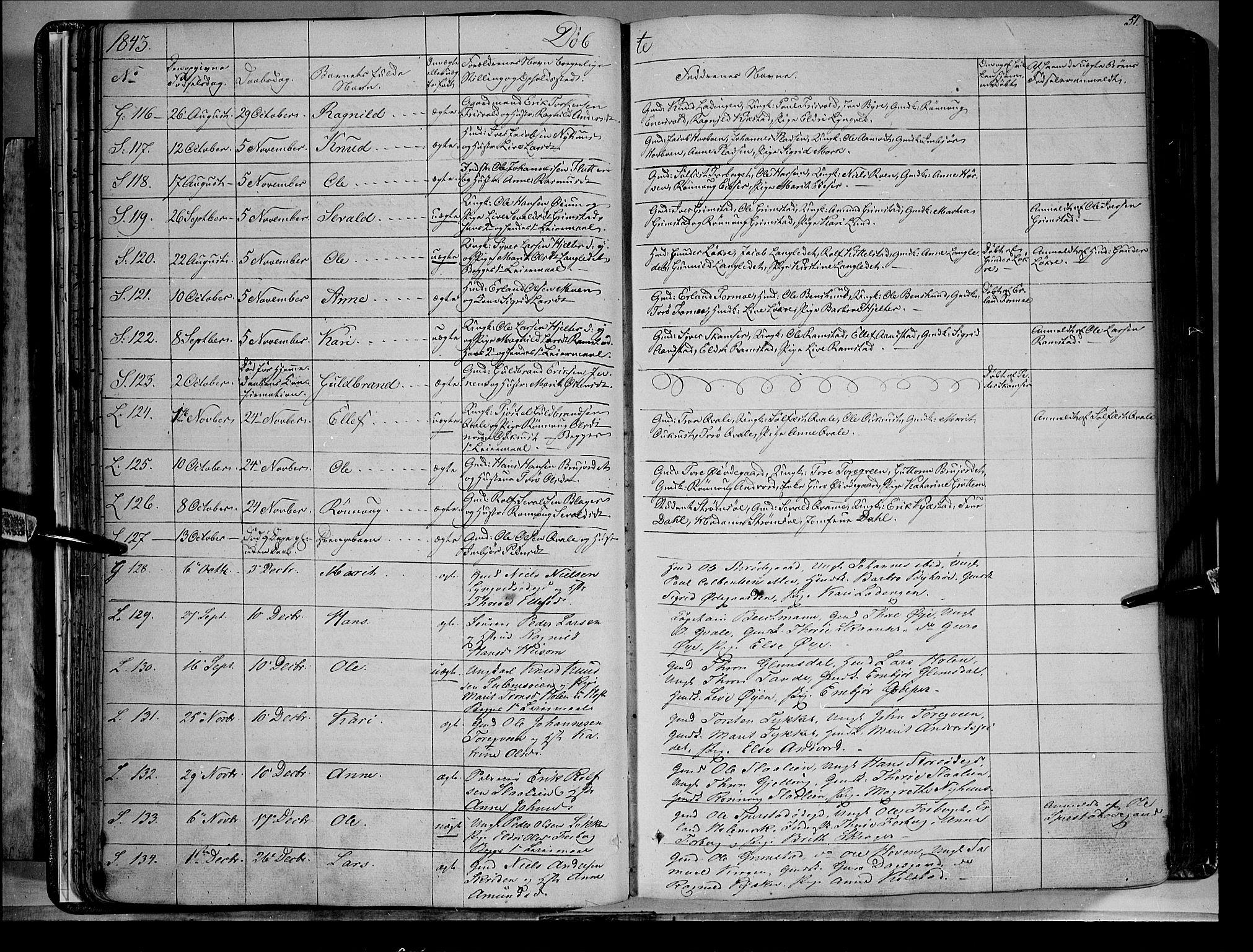 SAH, Lom prestekontor, K/L0006: Parish register (official) no. 6A, 1837-1863, p. 51