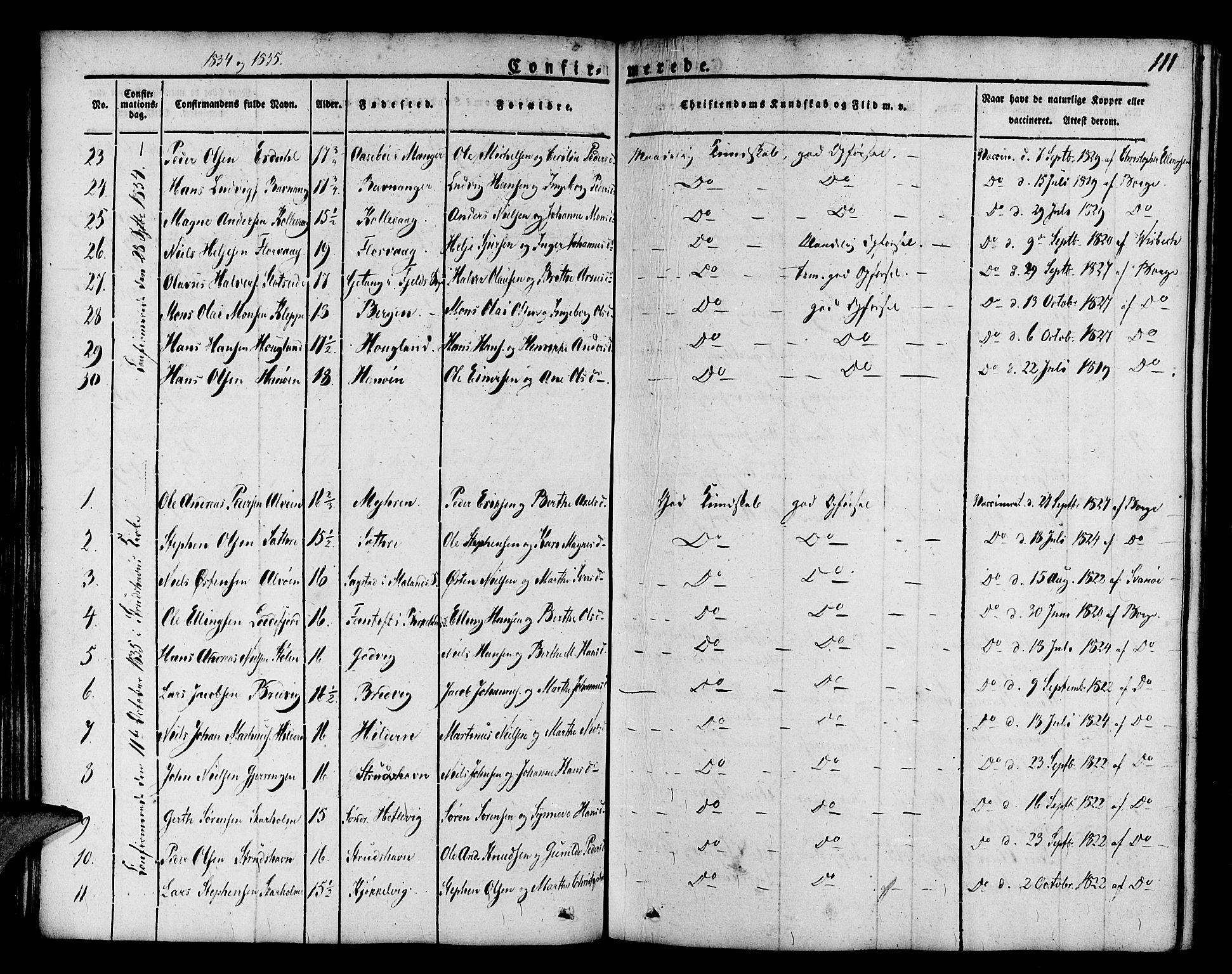 SAB, Askøy Sokneprestembete, H/Ha/Haa/Haaa/L0004: Parish register (official) no. A 4, 1825-1845, p. 111