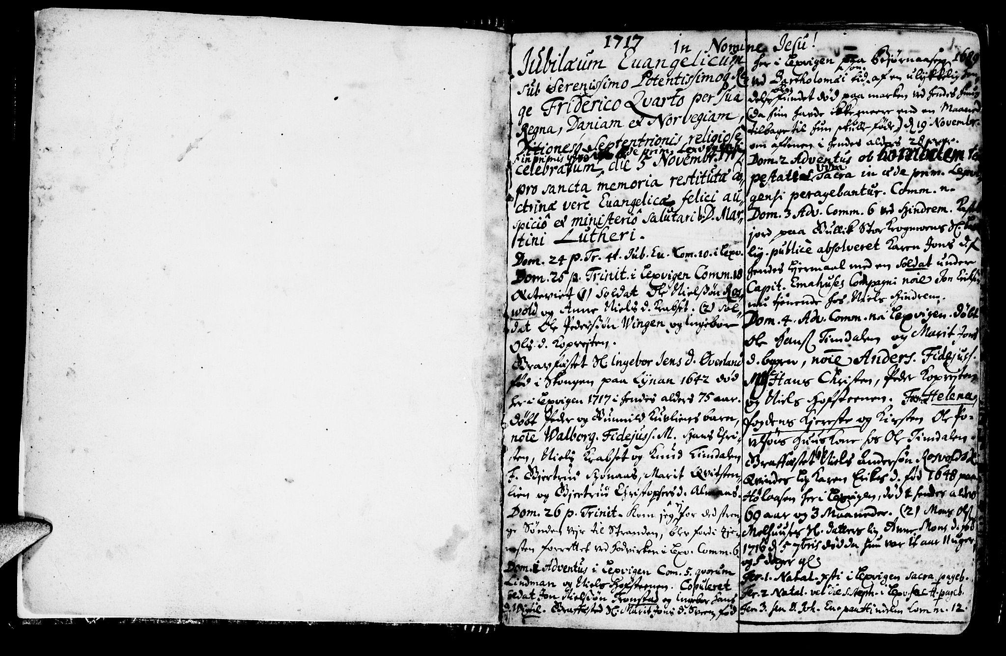 SAT, Ministerialprotokoller, klokkerbøker og fødselsregistre - Nord-Trøndelag, 701/L0001: Parish register (official) no. 701A01, 1717-1731, p. 1