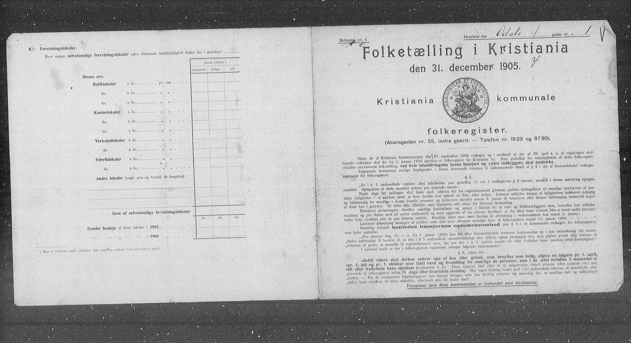 OBA, Municipal Census 1905 for Kristiania, 1905, p. 39187