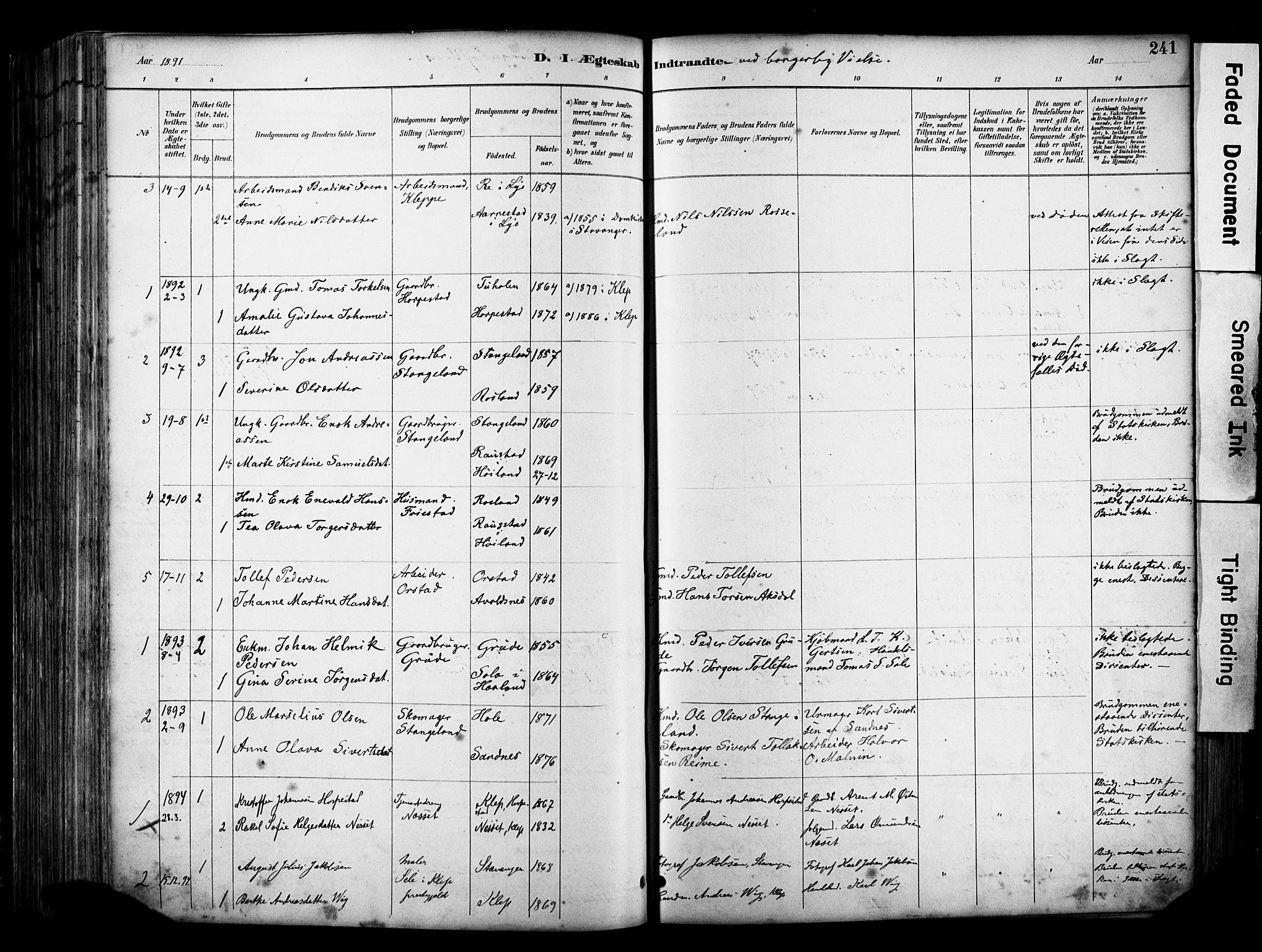 SAST, Klepp sokneprestkontor, 30BA/L0009: Parish register (official) no. A 7, 1886-1915, p. 241