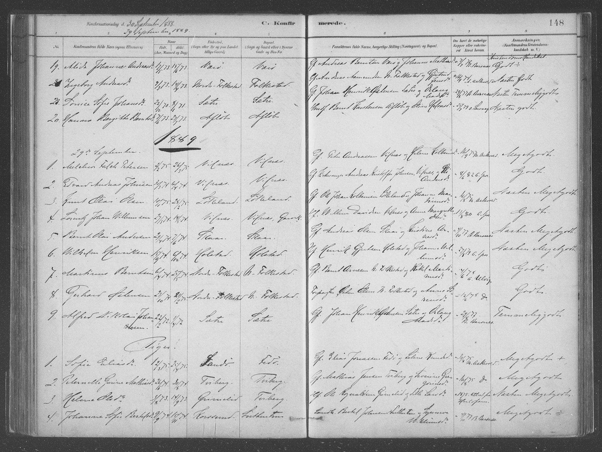 SAB, Askvoll Sokneprestembete, Parish register (official) no. C  1, 1879-1922, p. 148