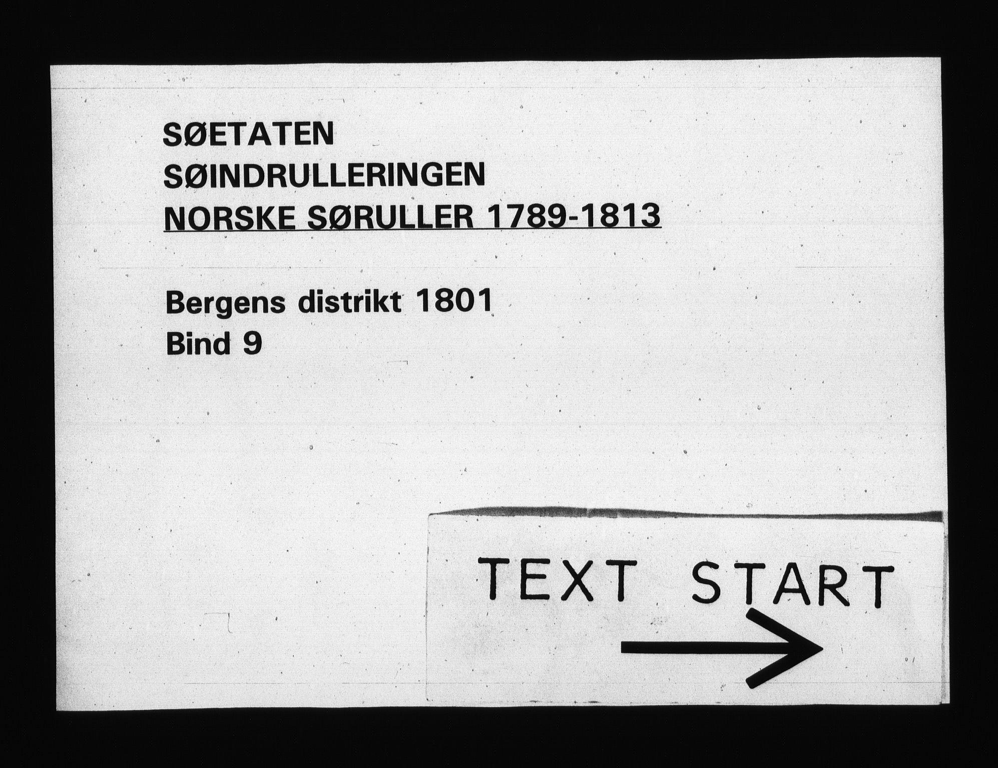 RA, Sjøetaten, F/L0241: Bergen distrikt, bind 9, 1801
