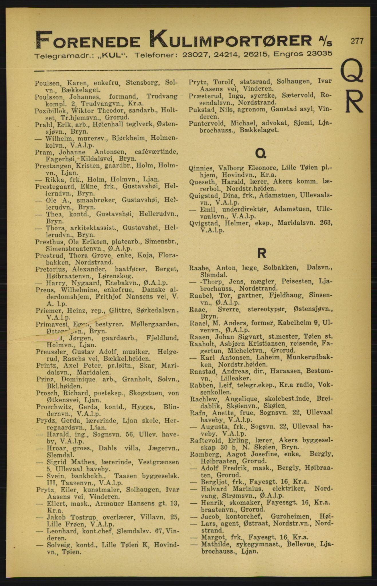 RA, Aker adressebok/adressekalender (publikasjon)*, 1924-1925, p. 277