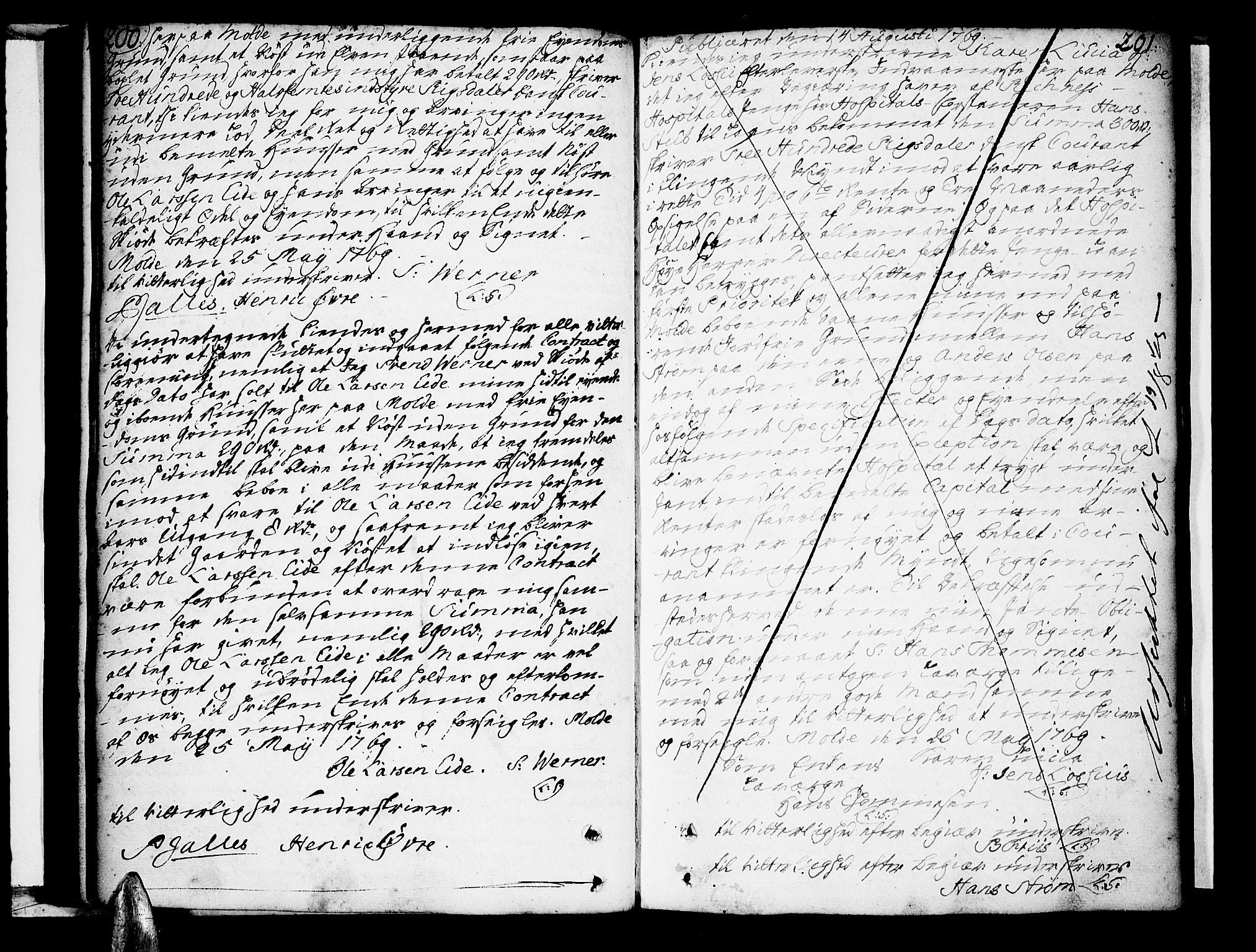 SAT, Molde byfogd, 2/2C/L0001: Mortgage book no. 1, 1748-1823, p. 200-201
