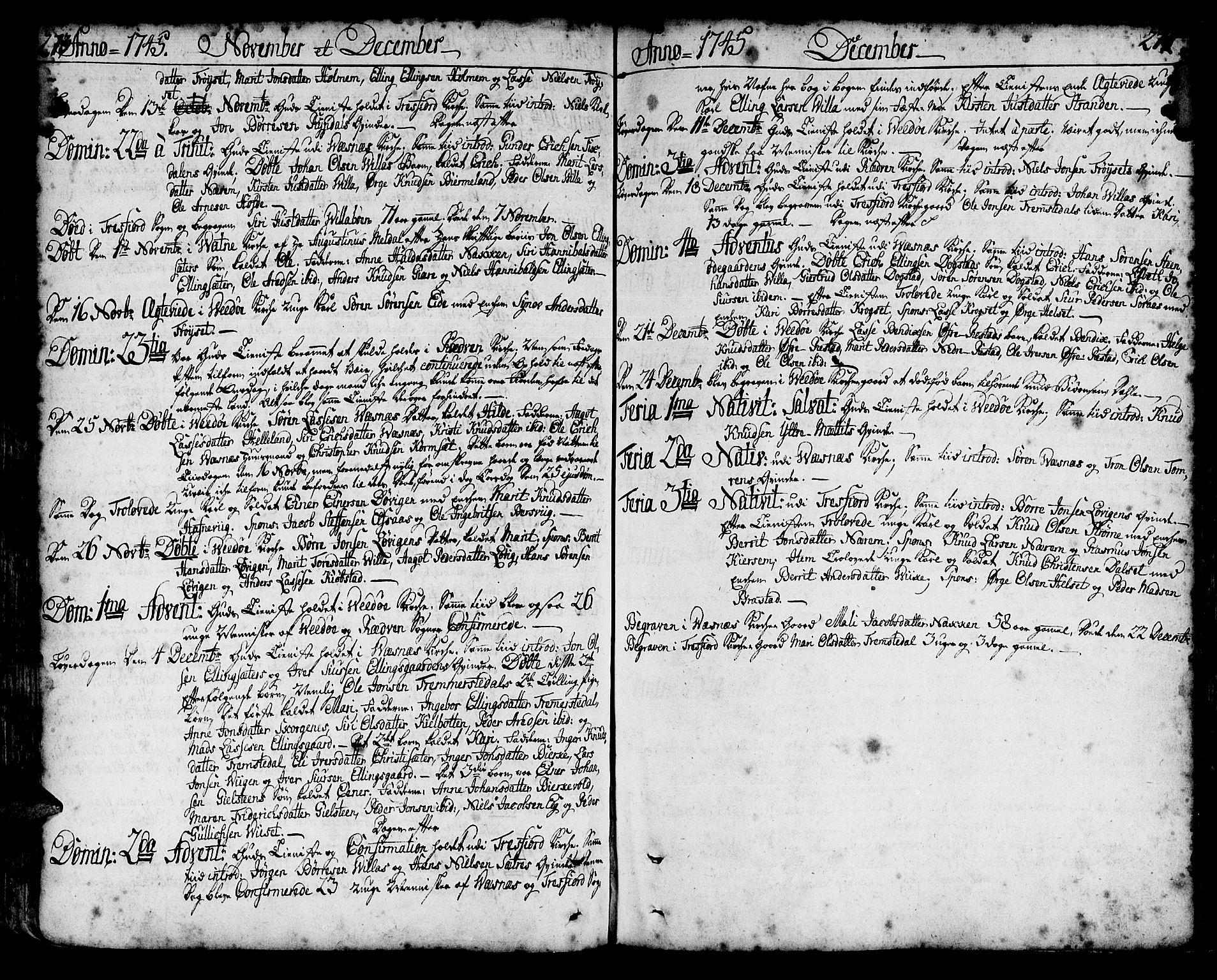 SAT, Ministerialprotokoller, klokkerbøker og fødselsregistre - Møre og Romsdal, 547/L0599: Parish register (official) no. 547A01, 1721-1764, p. 272-273