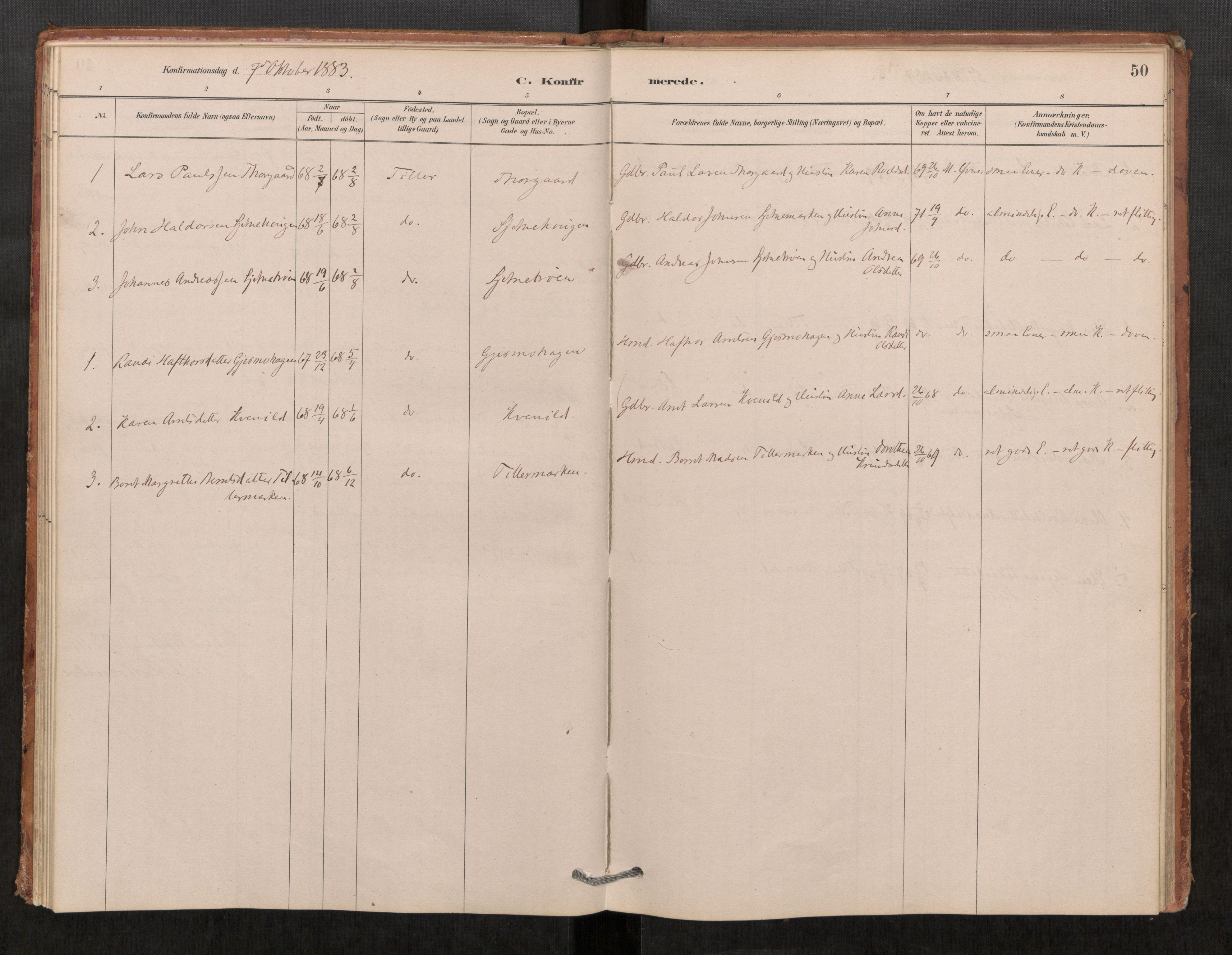 SAT, Klæbu sokneprestkontor, Parish register (official) no. 1, 1880-1900, p. 50