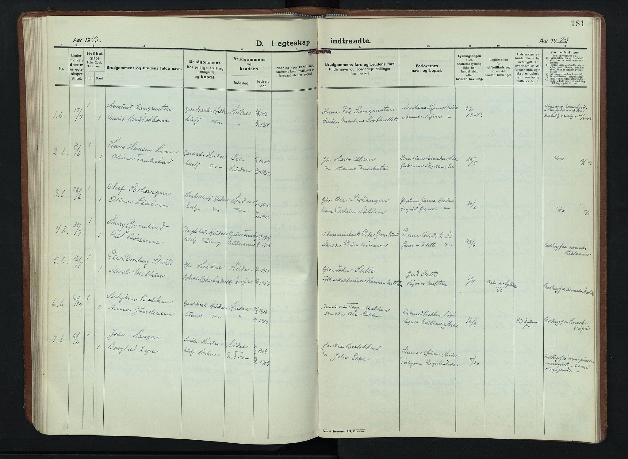 SAH, Sel prestekontor, Parish register (copy) no. 6, 1923-1953, p. 181