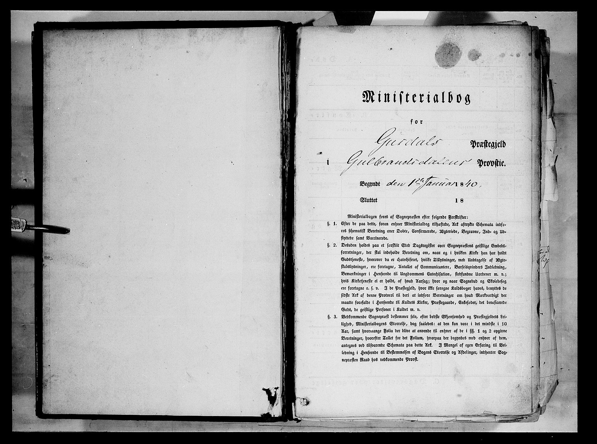 SAH, Gausdal prestekontor, Parish register (official) no. 7, 1840-1850
