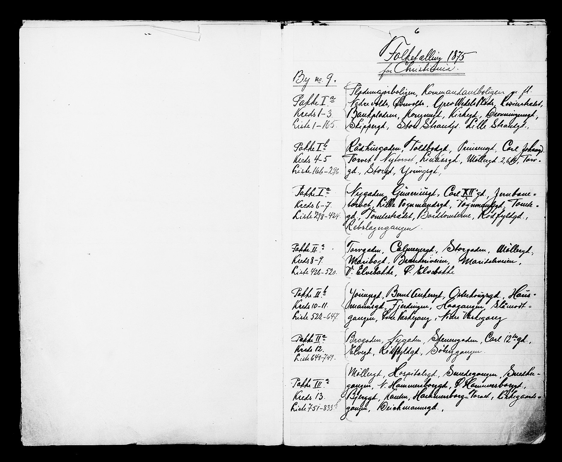RA, 1875 census for 0301 Kristiania, 1875, p. 1