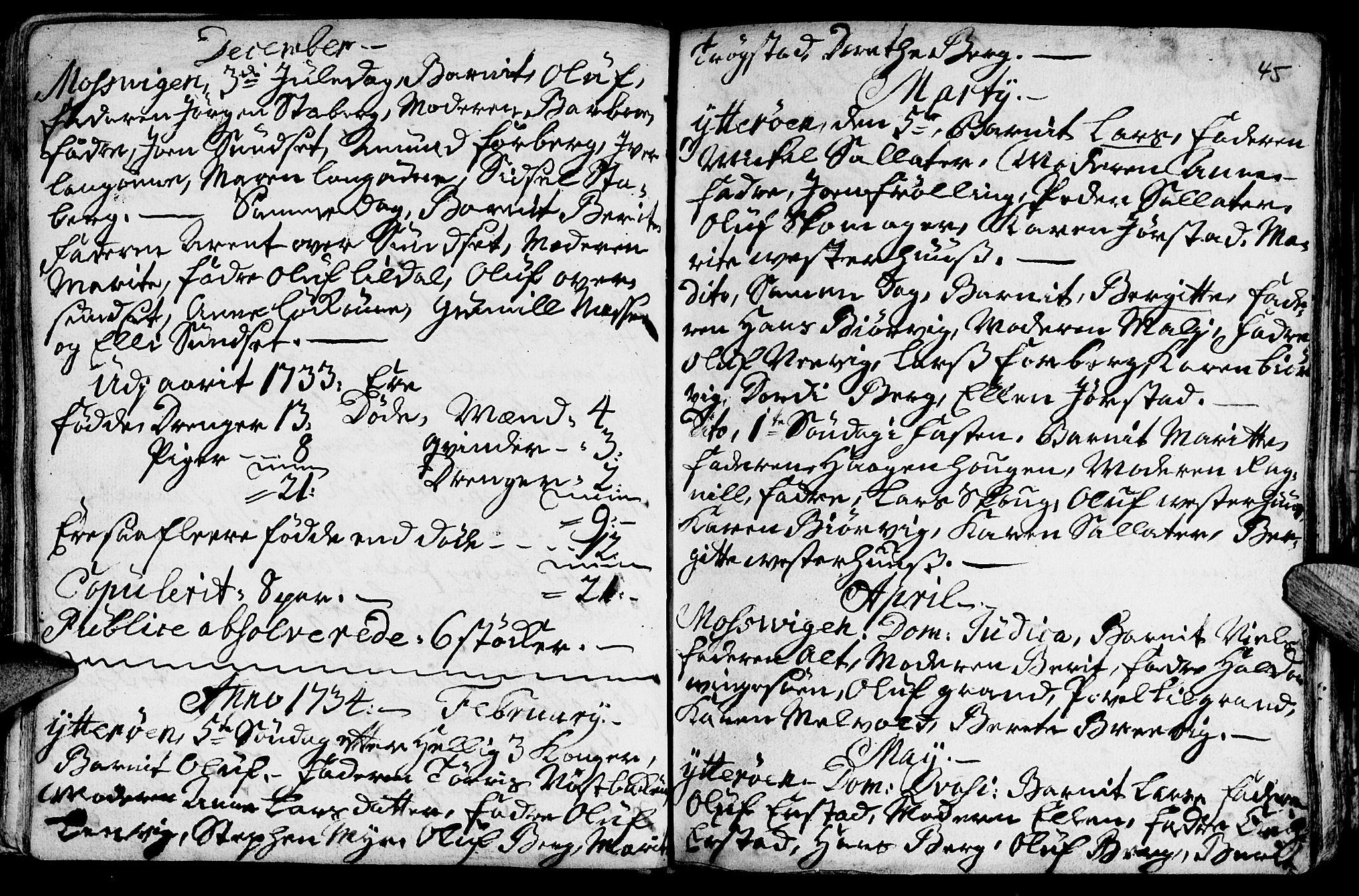 SAT, Ministerialprotokoller, klokkerbøker og fødselsregistre - Nord-Trøndelag, 722/L0215: Parish register (official) no. 722A02, 1718-1755, p. 45