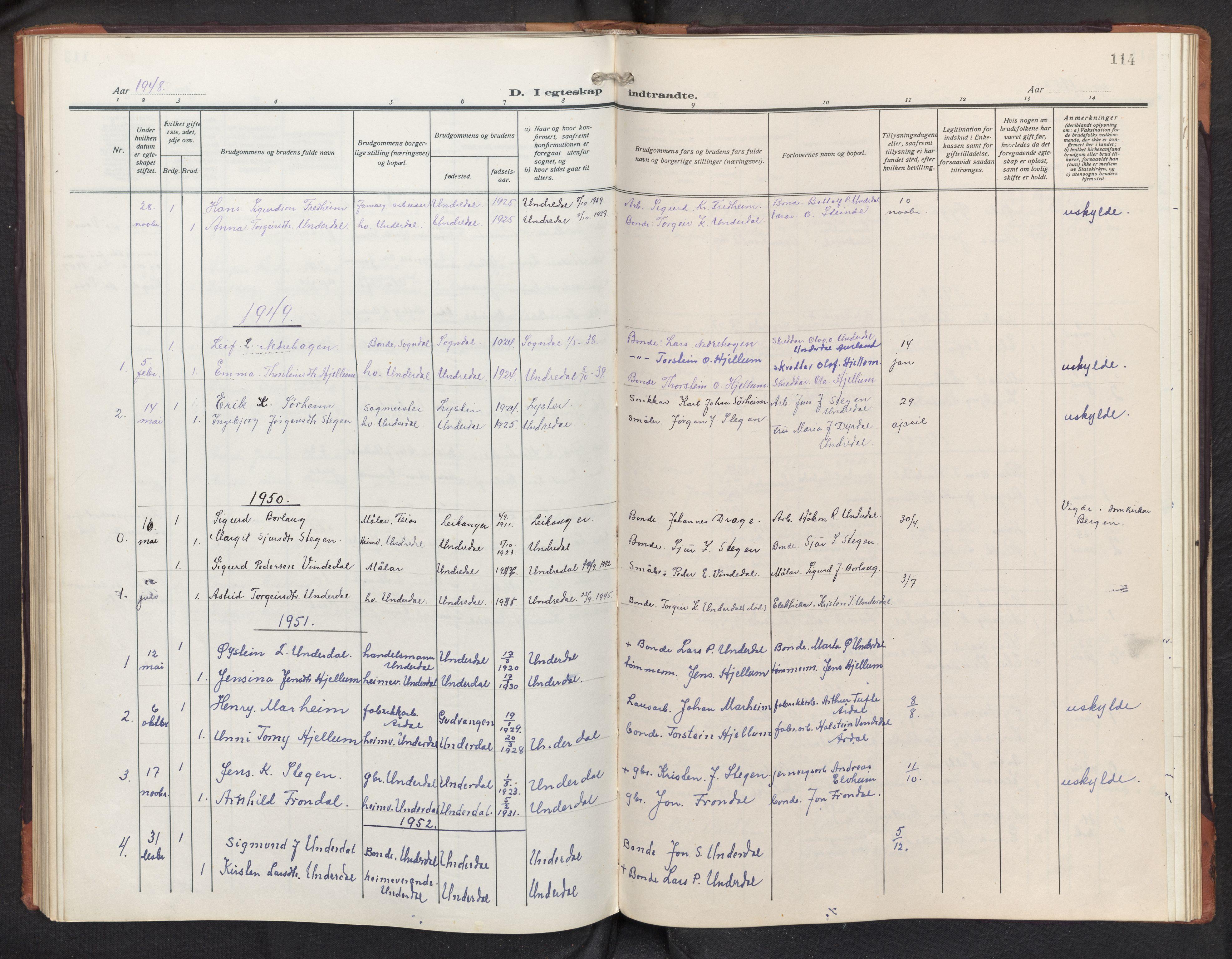 SAB, Aurland sokneprestembete, H/Hb/Hbd/L0003: Parish register (copy) no. D 3, 1920-1968, p. 113b-114a