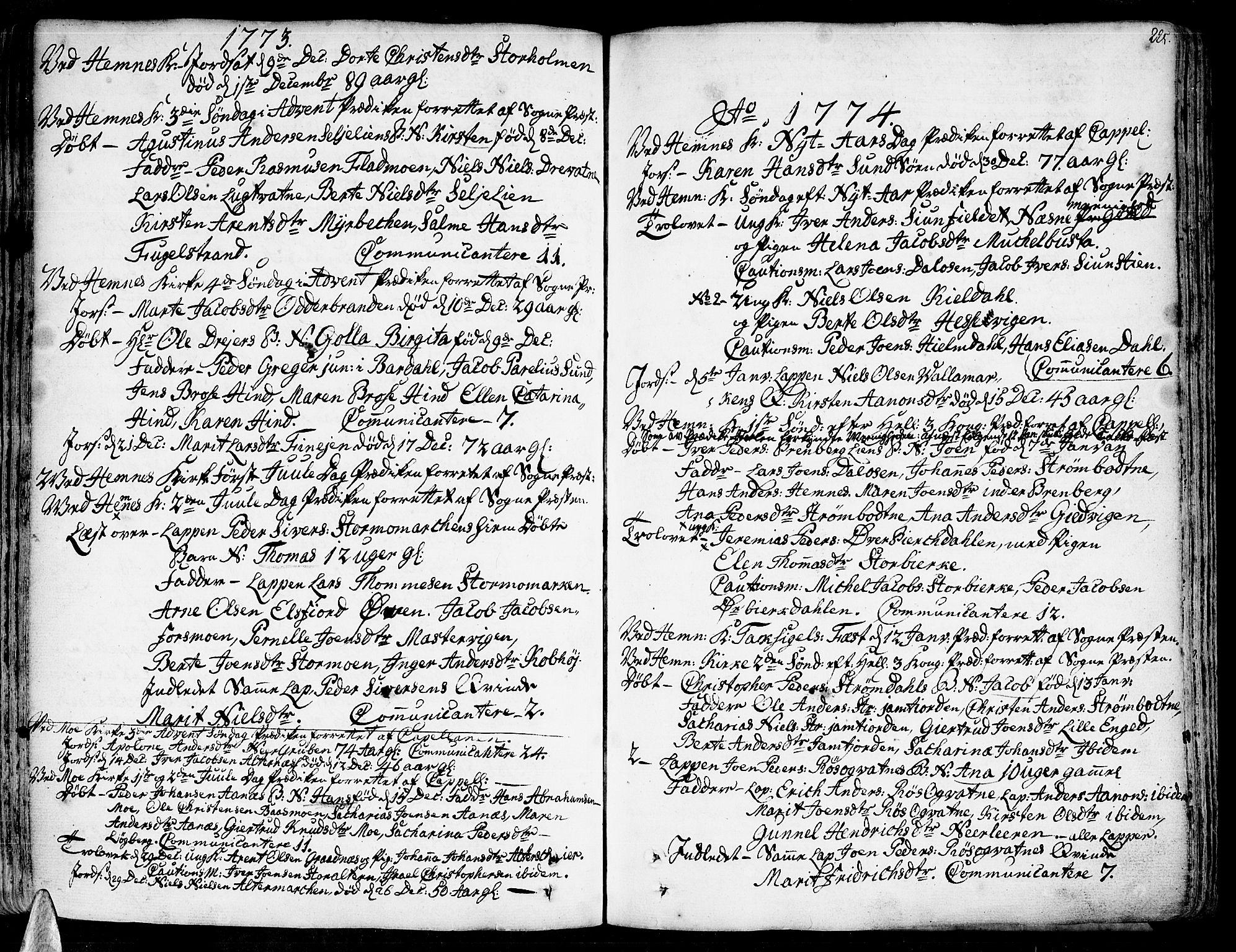SAT, Ministerialprotokoller, klokkerbøker og fødselsregistre - Nordland, 825/L0348: Parish register (official) no. 825A04, 1752-1788, p. 225