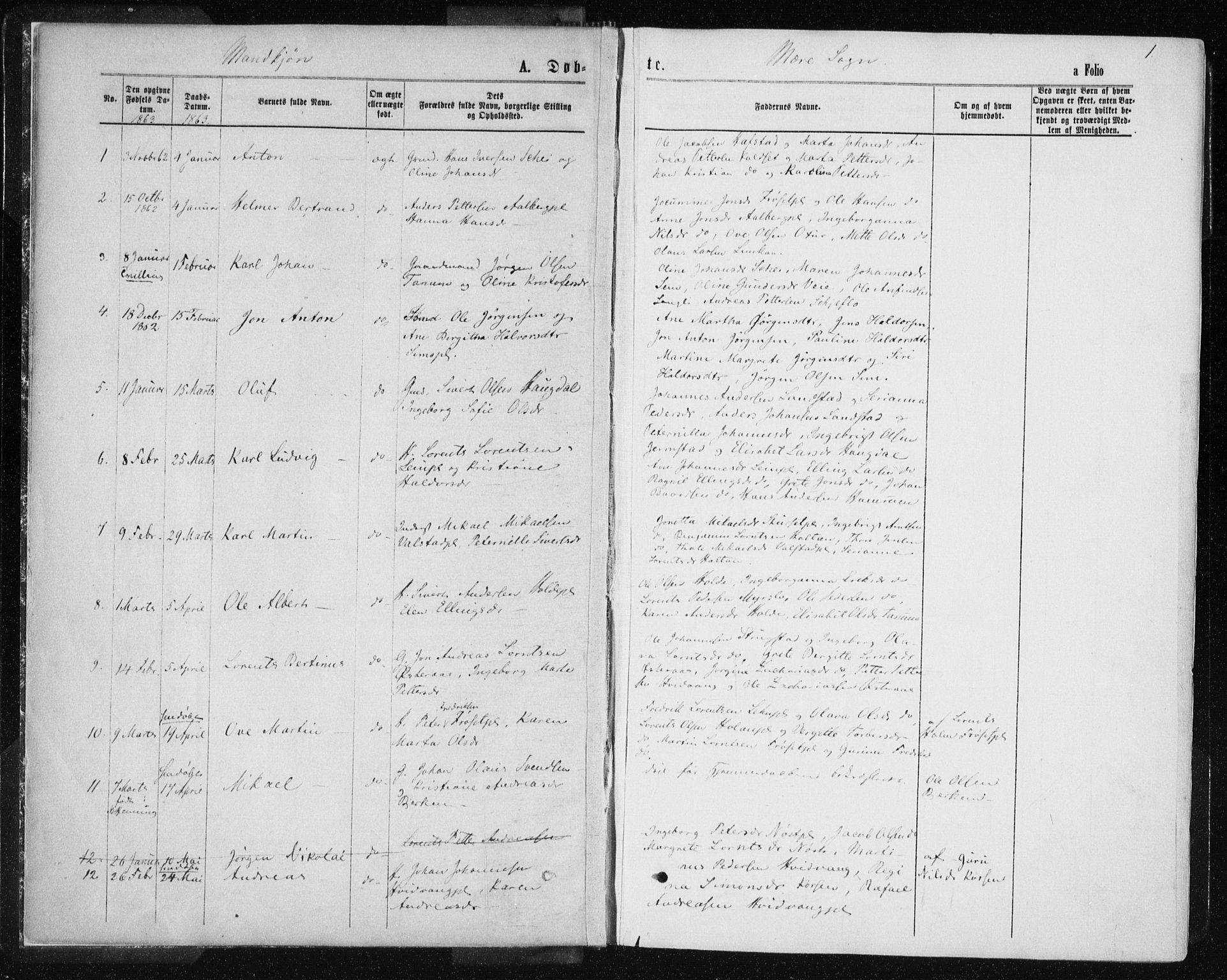 SAT, Ministerialprotokoller, klokkerbøker og fødselsregistre - Nord-Trøndelag, 735/L0345: Parish register (official) no. 735A08 /1, 1863-1872, p. 1