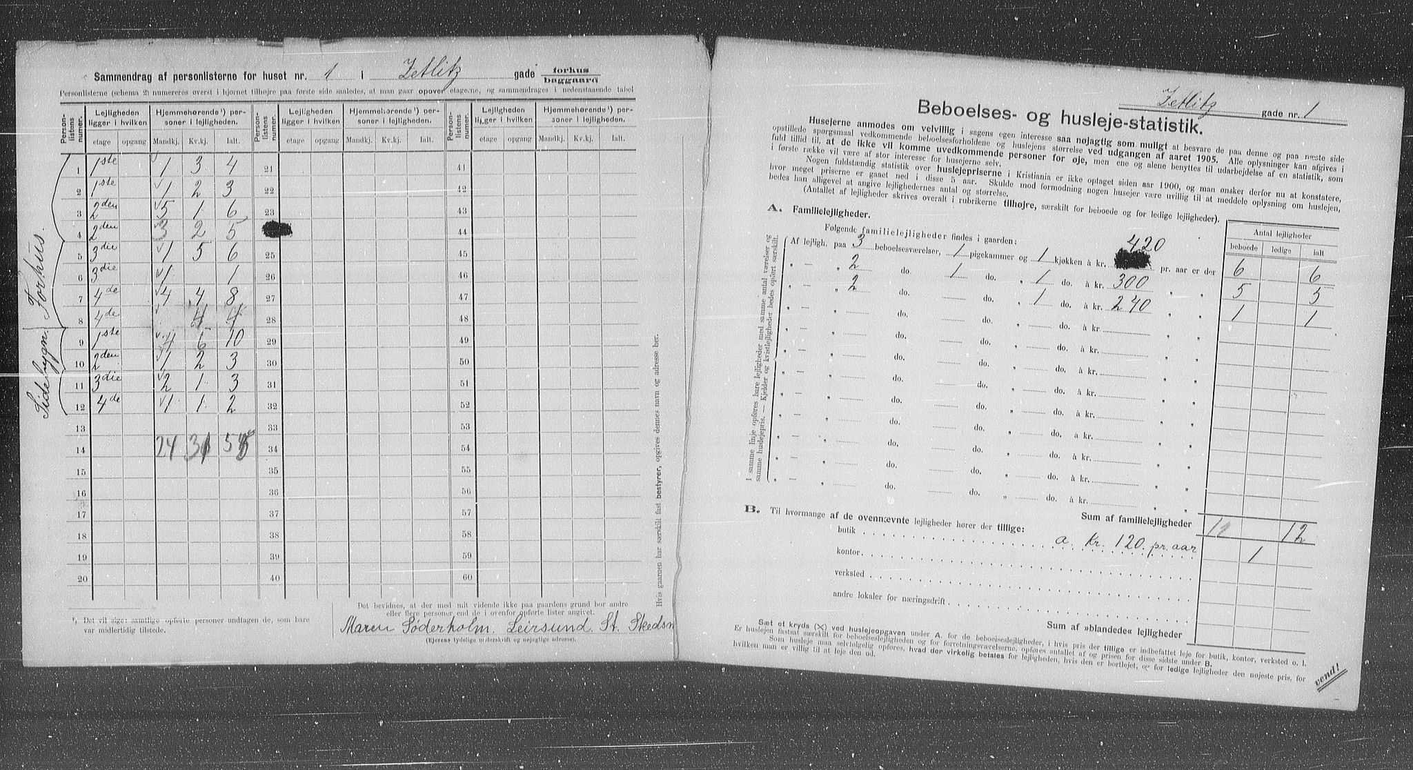 OBA, Municipal Census 1905 for Kristiania, 1905, p. 67618