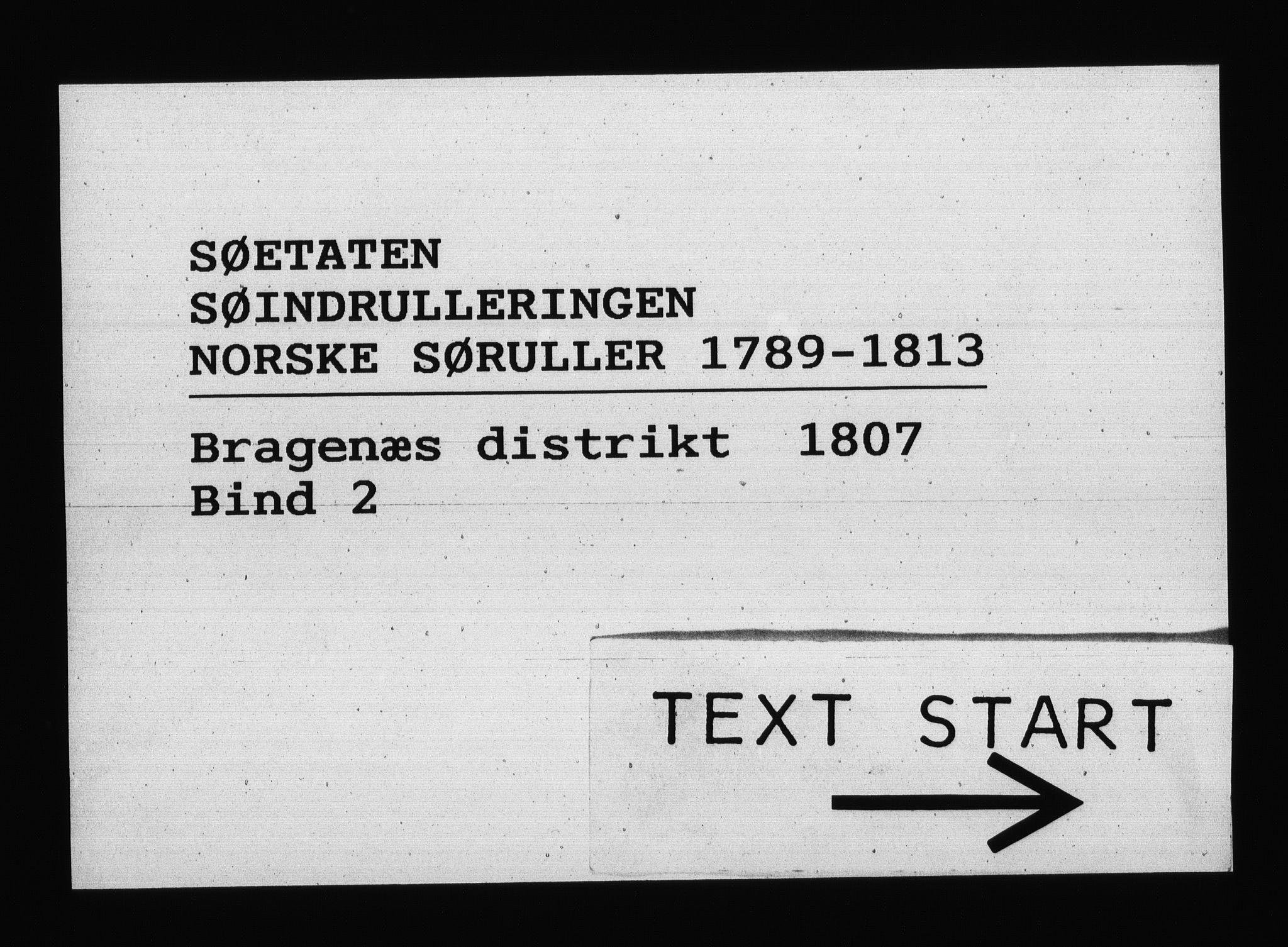 RA, Sjøetaten, F/L0150: Bragernes distrikt, bind 2, 1807