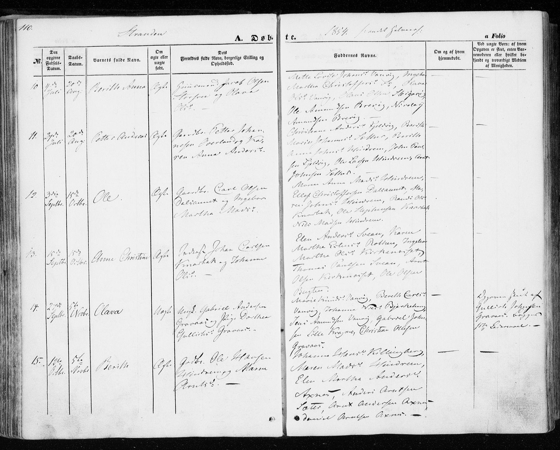SAT, Ministerialprotokoller, klokkerbøker og fødselsregistre - Nord-Trøndelag, 701/L0008: Parish register (official) no. 701A08 /2, 1854-1863, p. 110