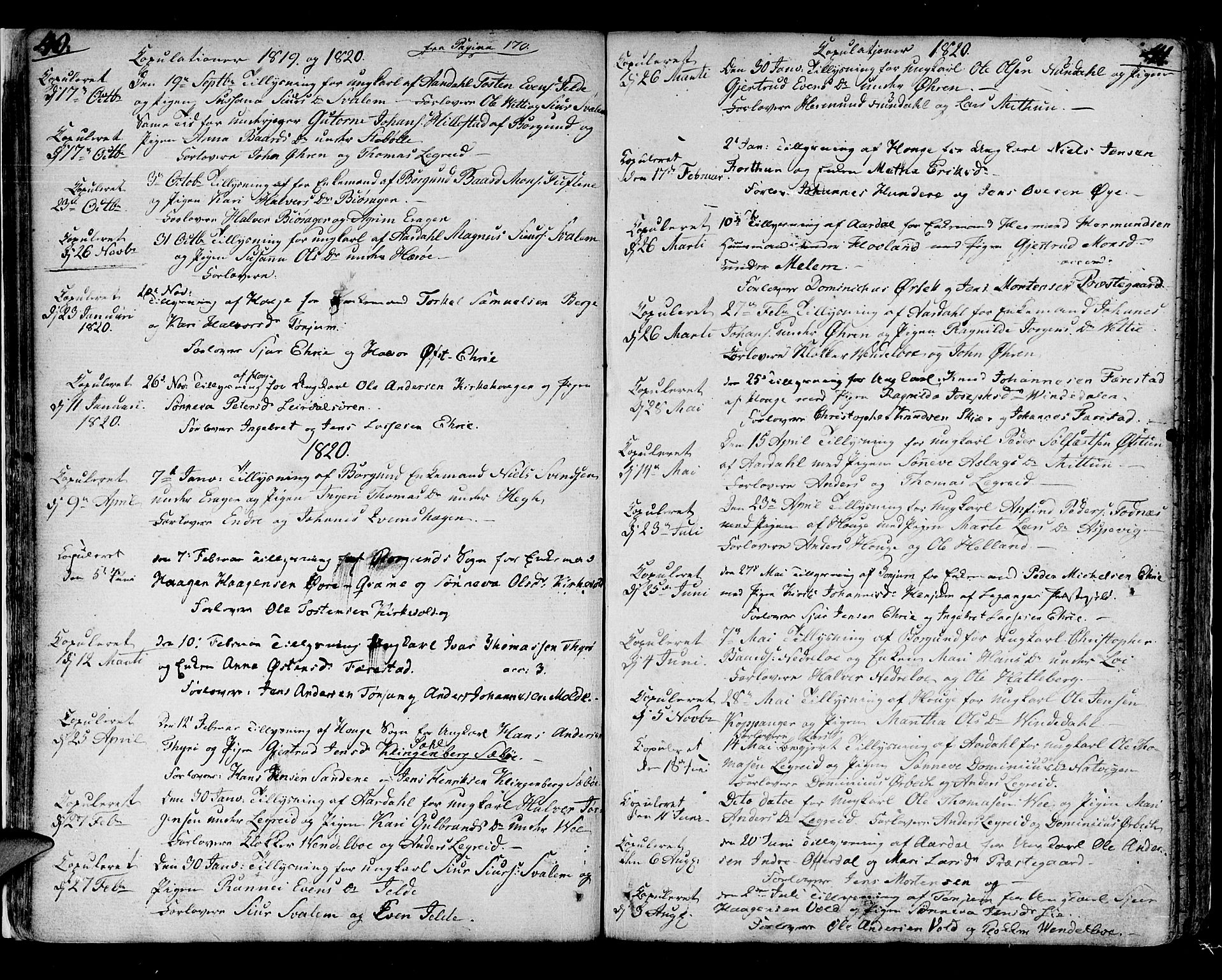 SAB, Lærdal sokneprestembete, Parish register (official) no. A 4, 1805-1821, p. 40-41