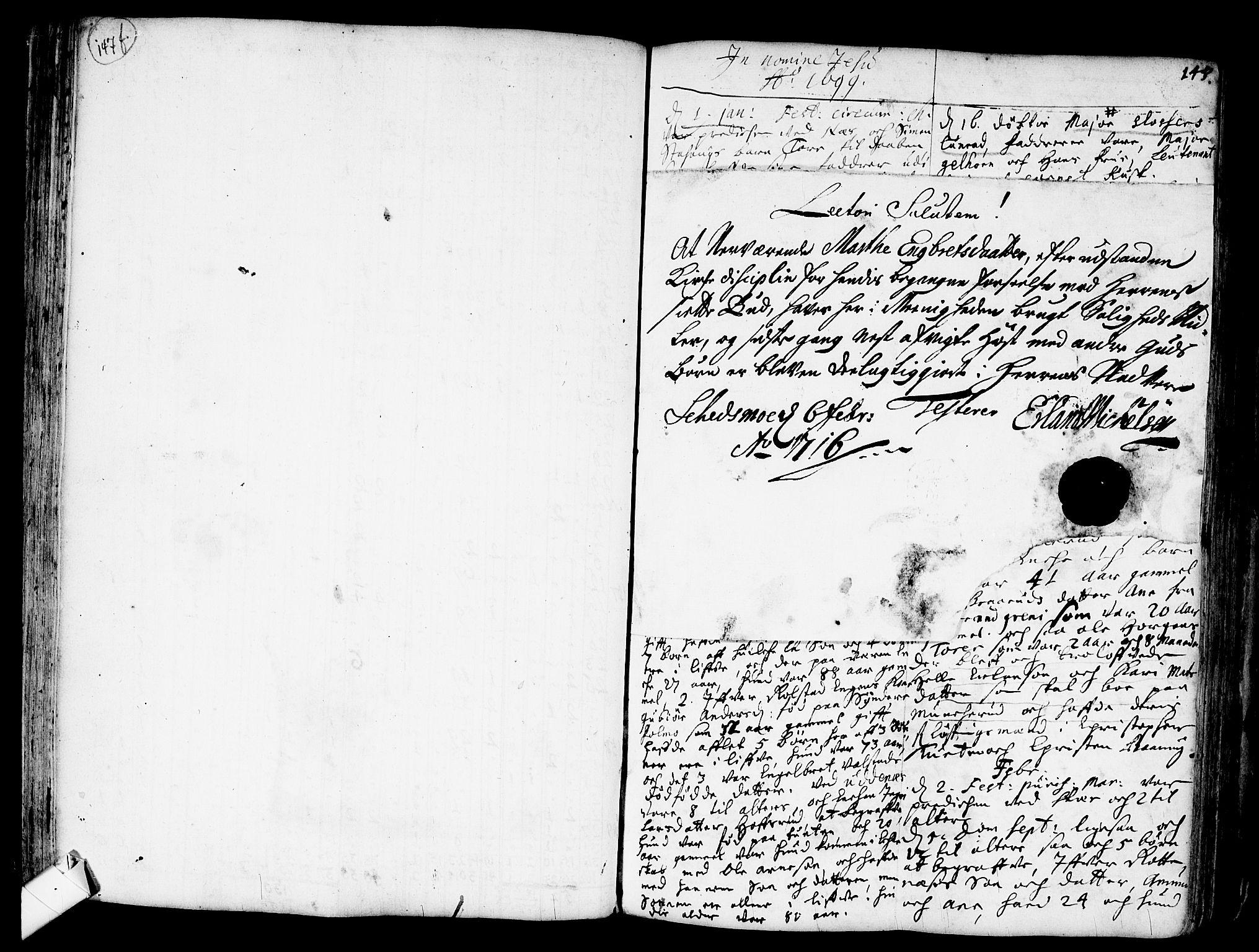 SAO, Nes prestekontor Kirkebøker, F/Fa/L0001: Parish register (official) no. I 1, 1689-1716, p. 147f