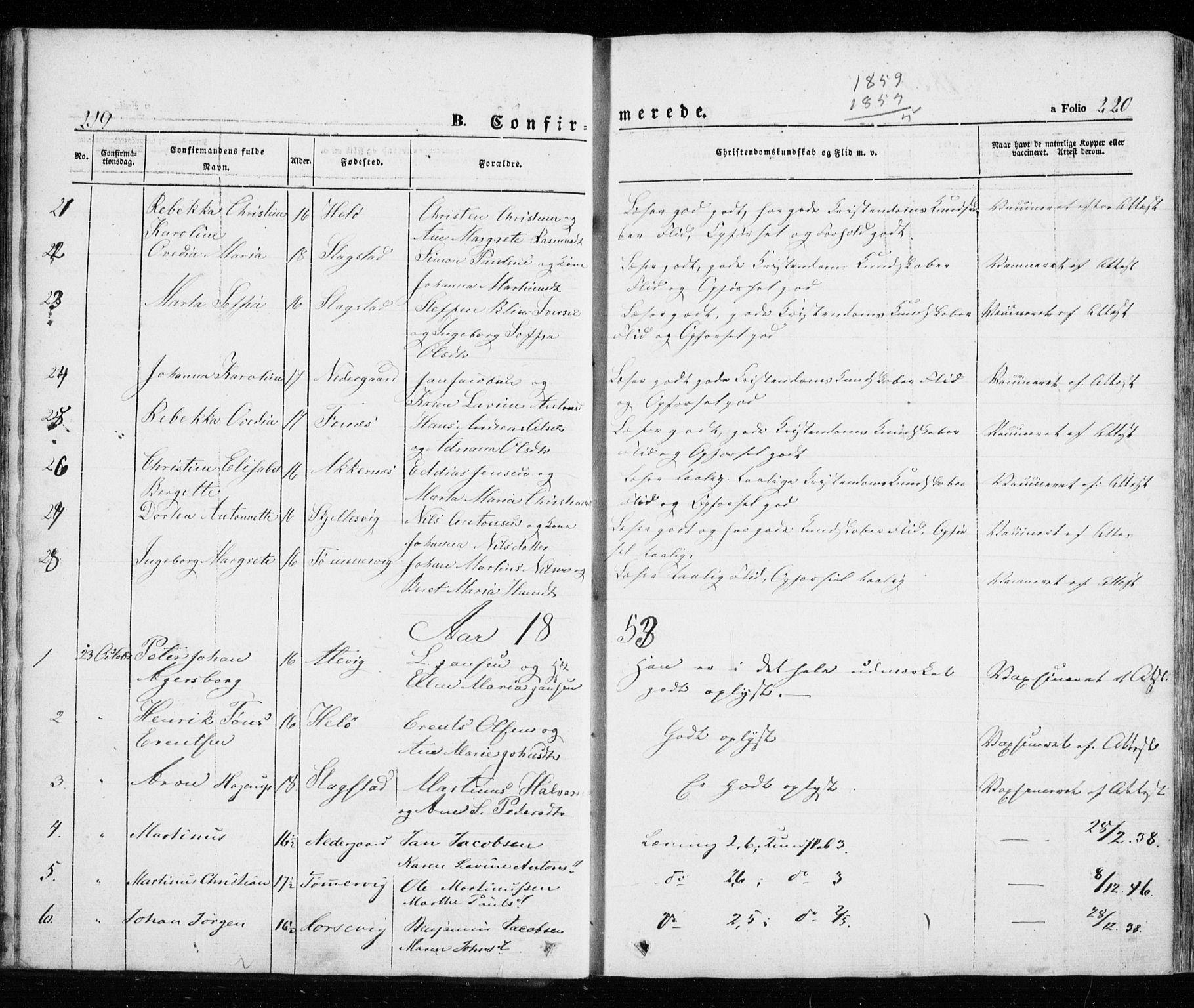 SATØ, Trondenes sokneprestkontor, H/Ha/L0010kirke: Parish register (official) no. 10, 1840-1865, p. 219-220