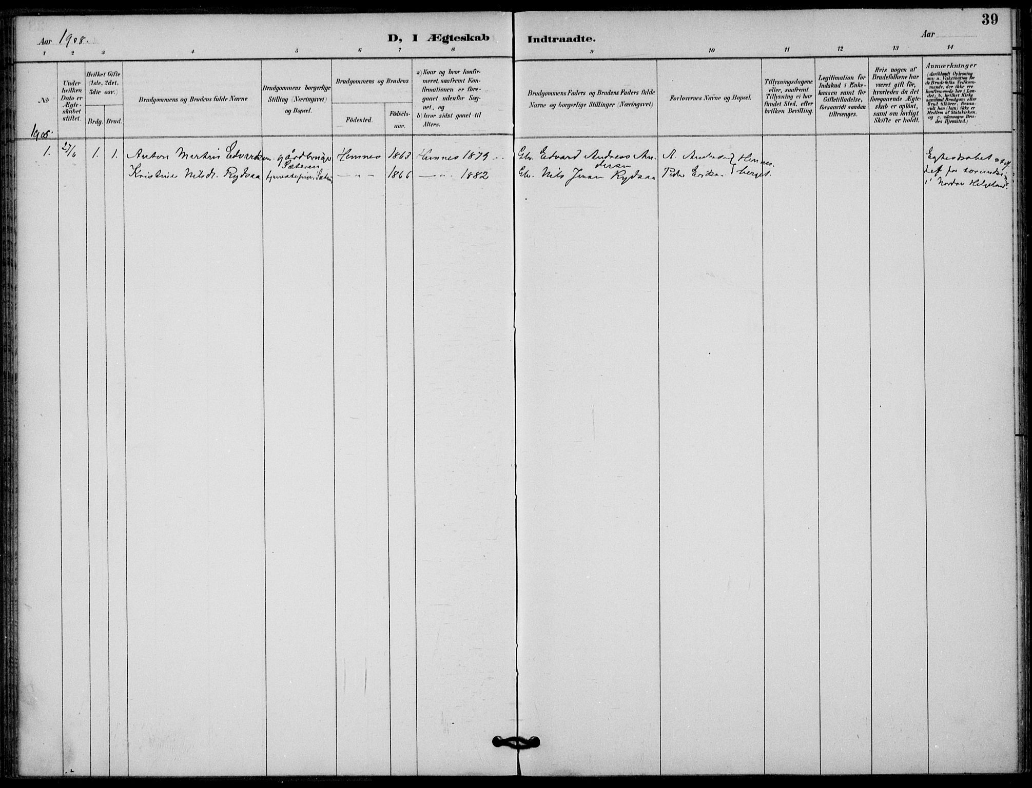 SAT, Ministerialprotokoller, klokkerbøker og fødselsregistre - Nordland, 825/L0363: Parish register (official) no. 825A17, 1890-1909, p. 39