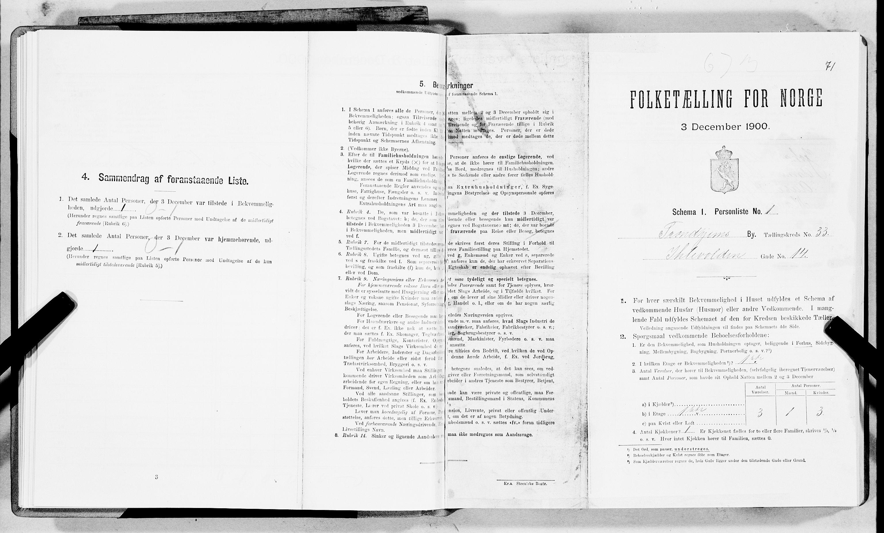 SAT, 1900 census for Trondheim, 1900, p. 5391