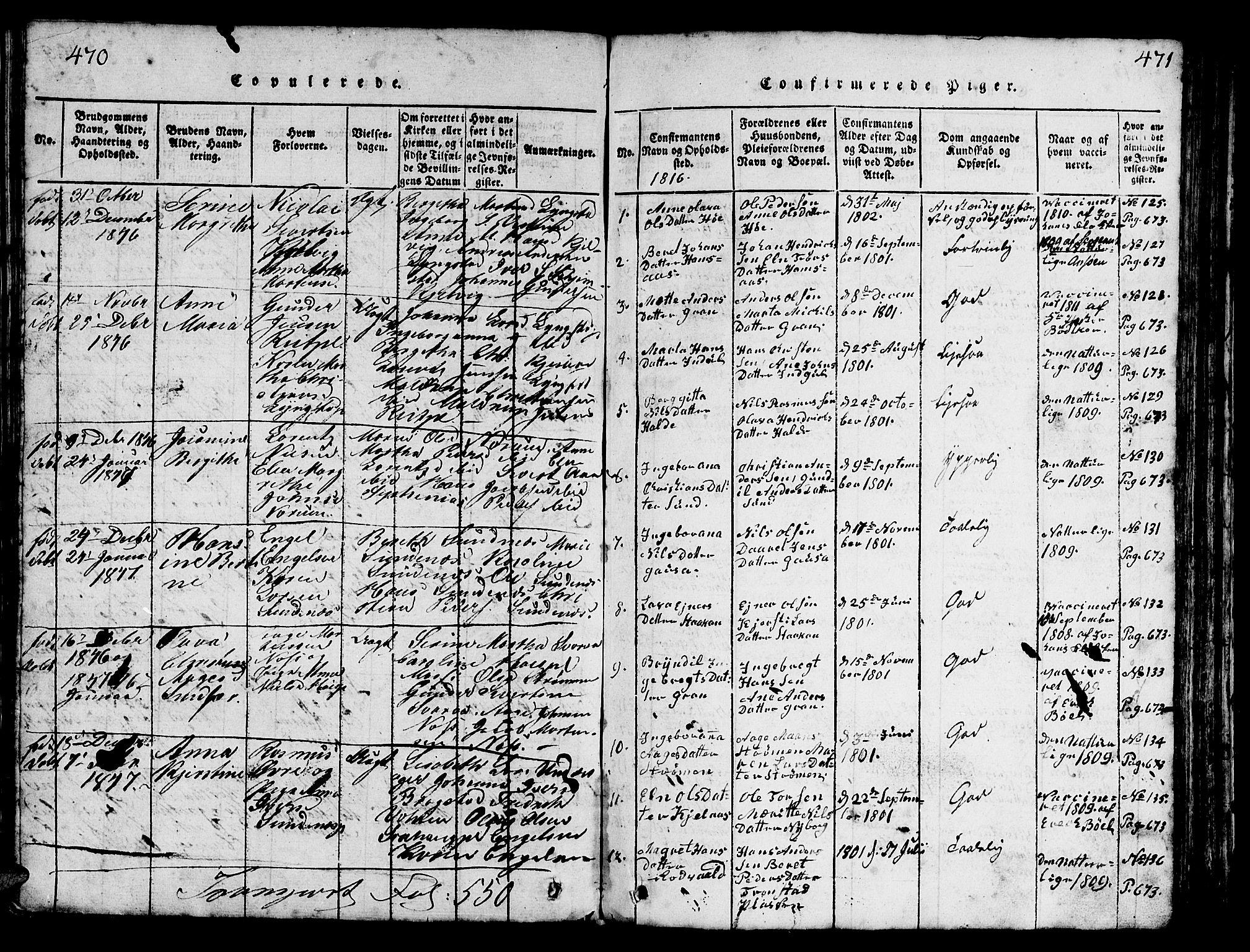 SAT, Ministerialprotokoller, klokkerbøker og fødselsregistre - Nord-Trøndelag, 730/L0298: Parish register (copy) no. 730C01, 1816-1849, p. 470-471
